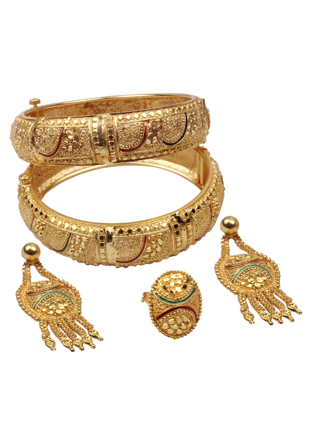 Golden Brass Bangle With Earring and Ring 157696