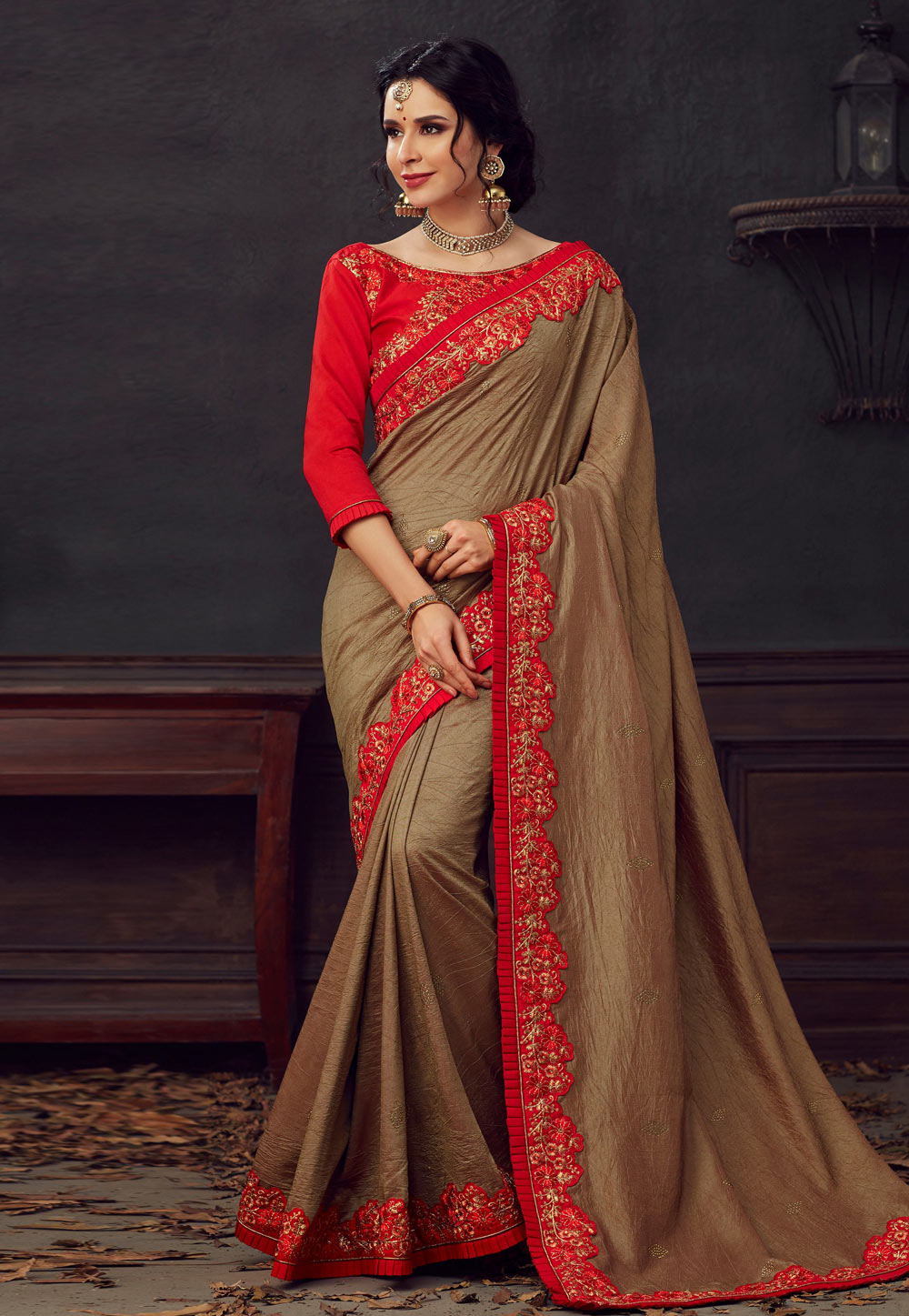 Brown Poly Silk Saree With Blouse 198205