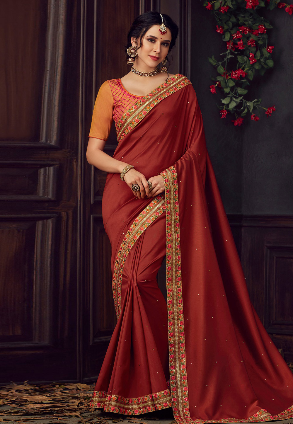 Rust Poly Silk Saree With Blouse 198211