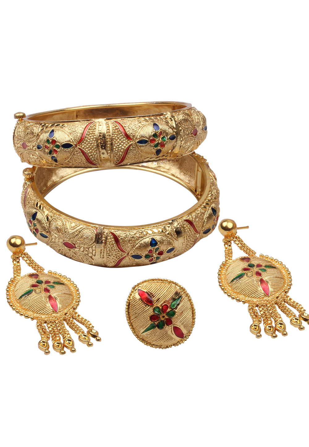 Golden Brass Bangle With Earring and Ring 157697