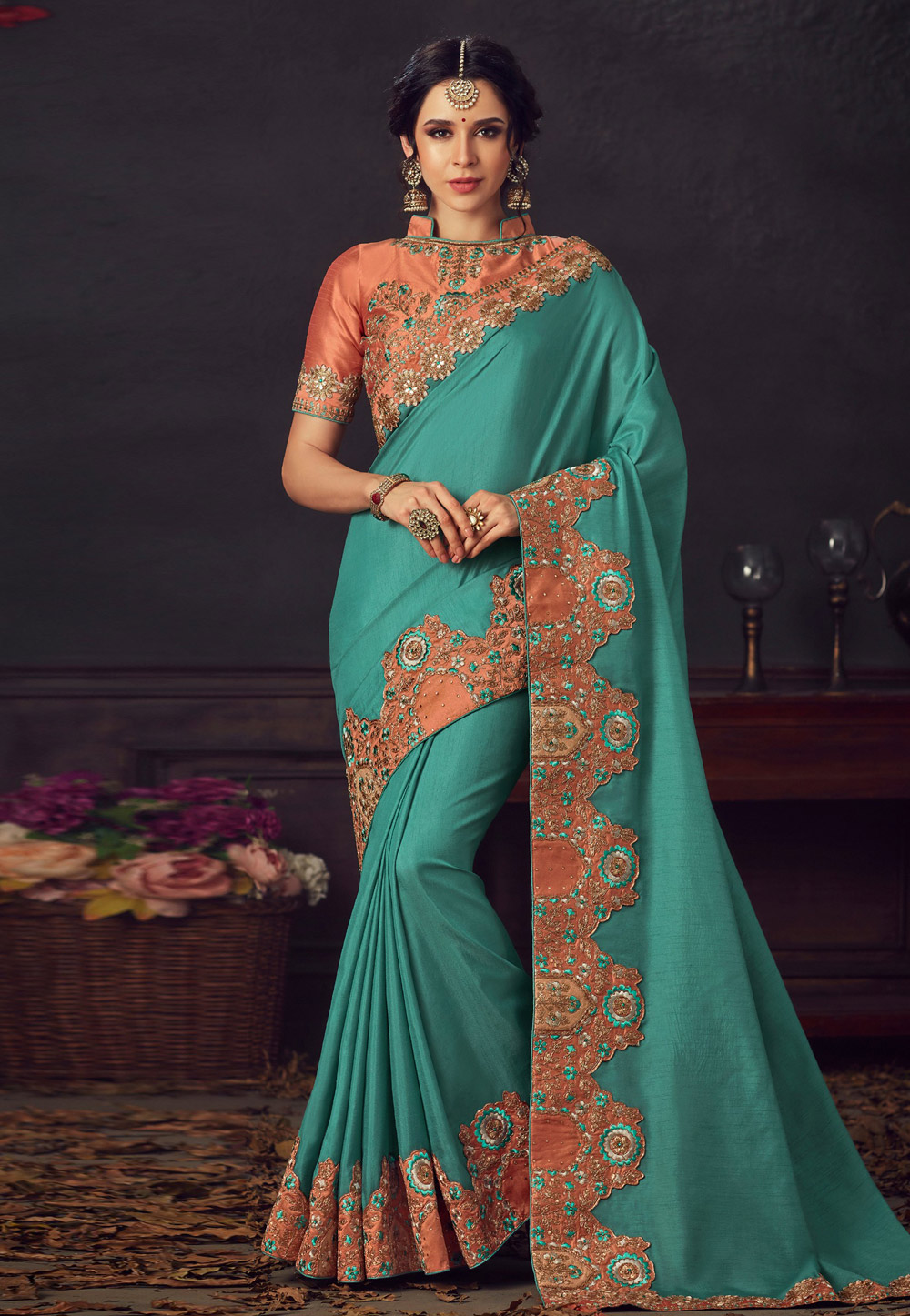 Turquoise Poly Silk Saree With Blouse 198215