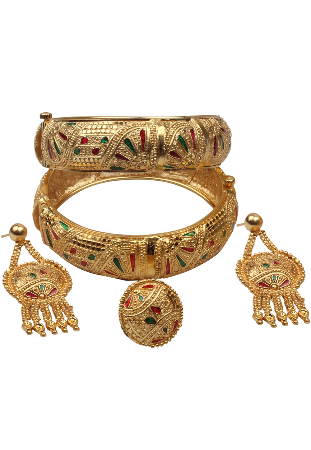 Golden Brass Bangle With Earring and Ring 157698
