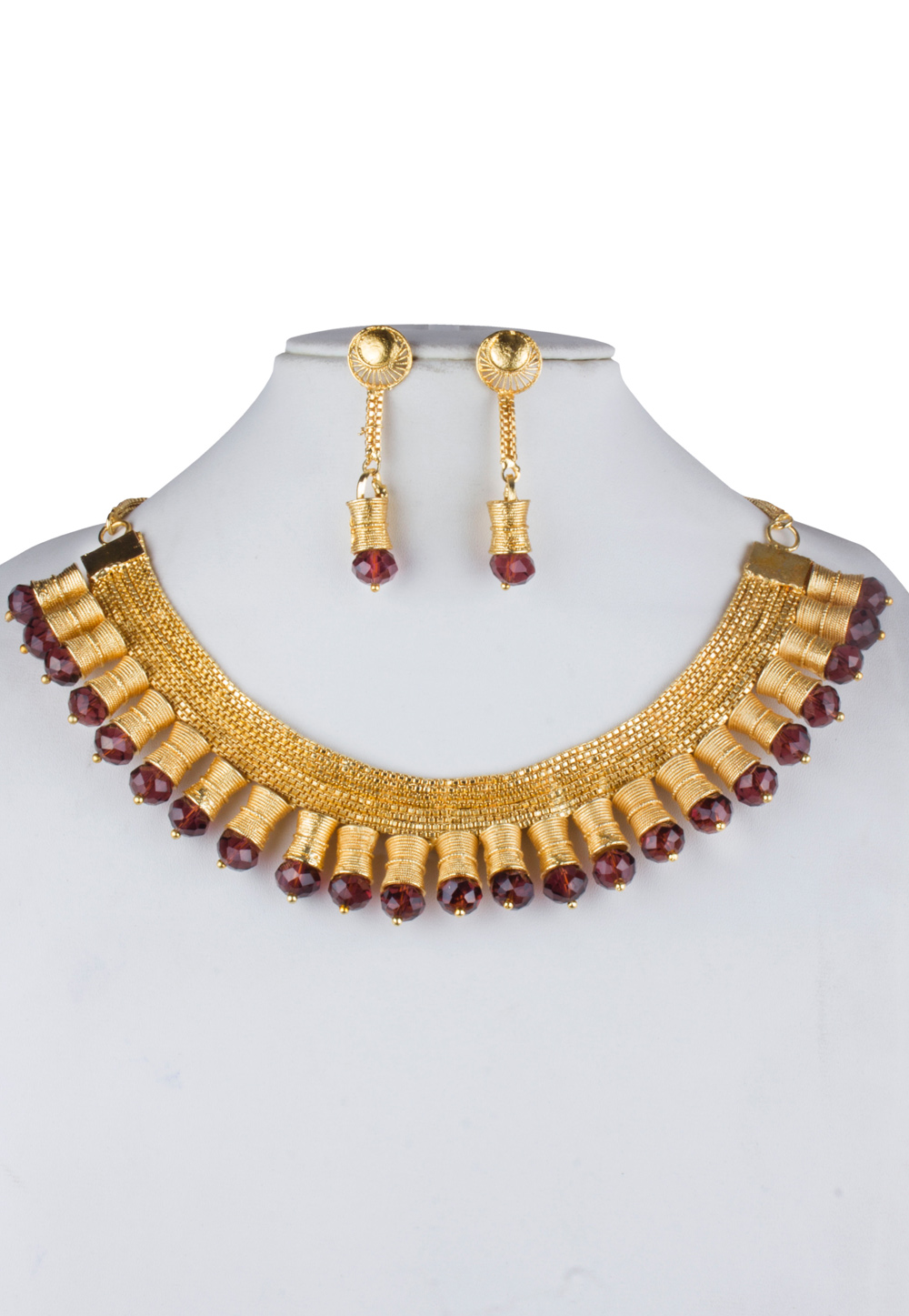 Maroon Alloy Necklace With Earrings 157111