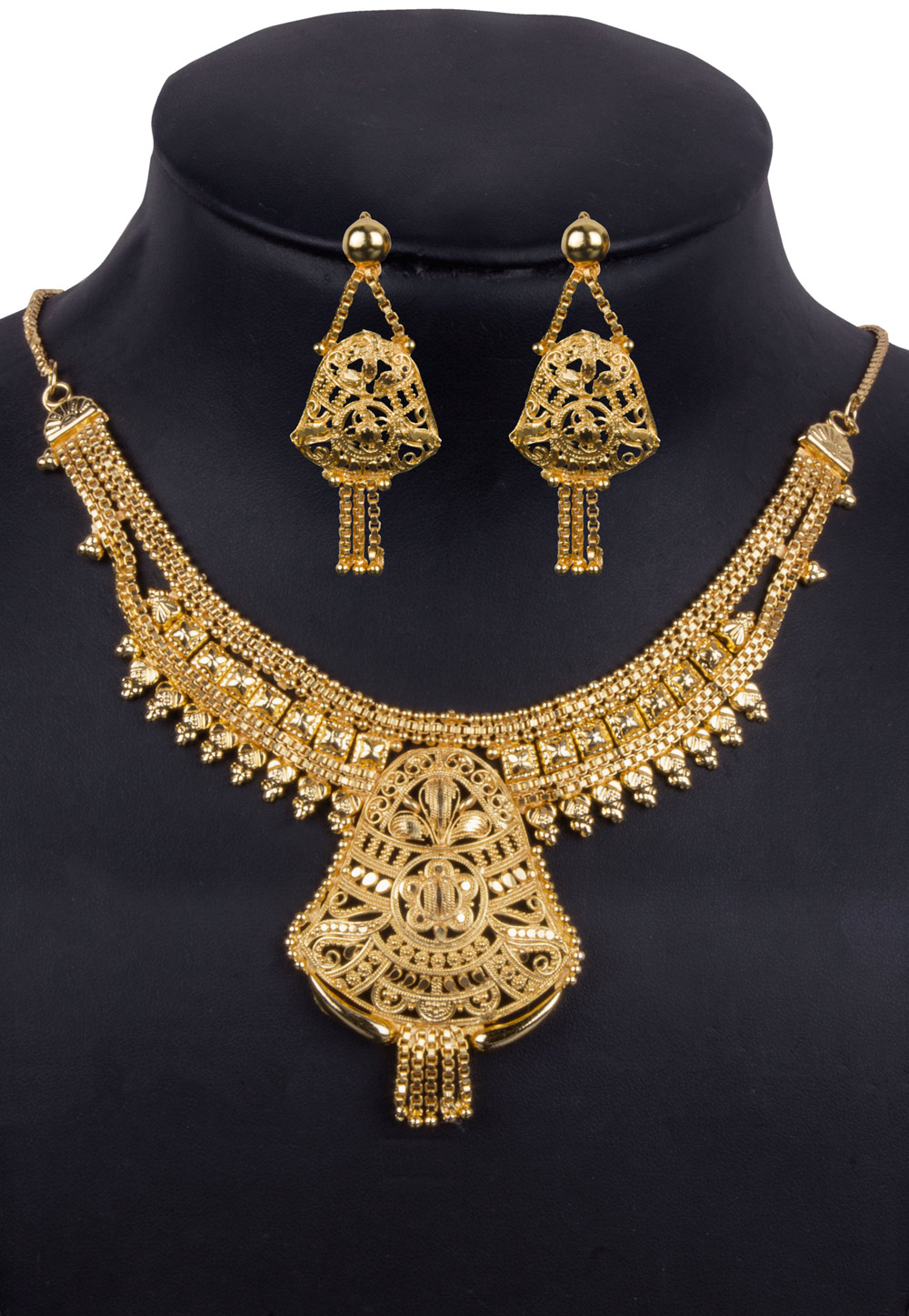 Golden Alloy Necklace With Earrings 157113