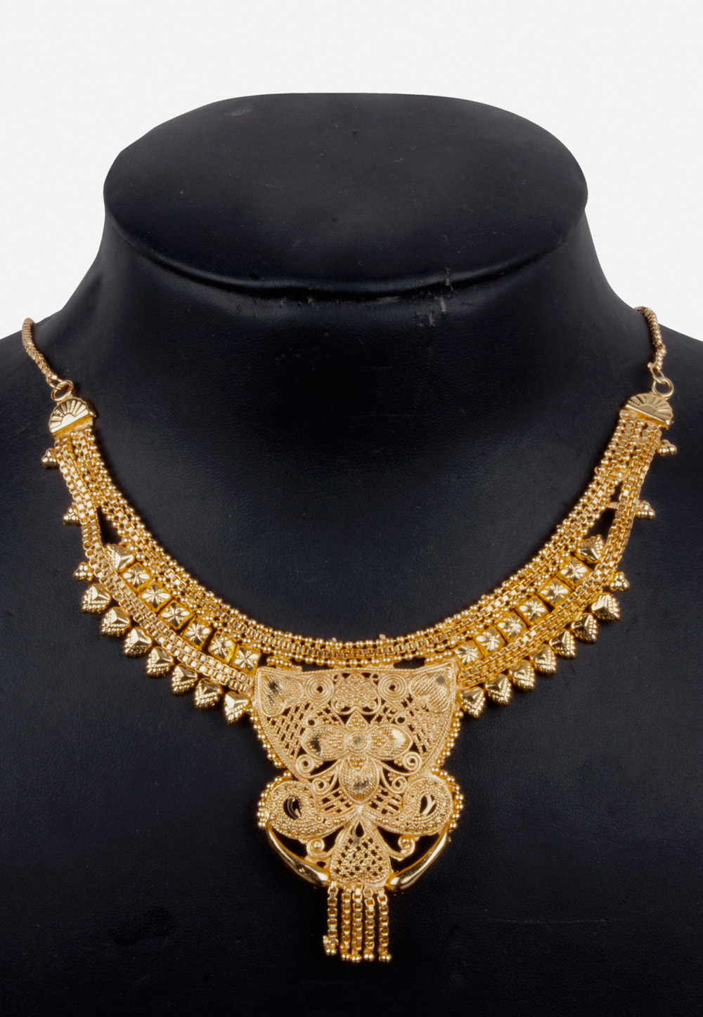 Golden Alloy Necklace With Earrings 157115