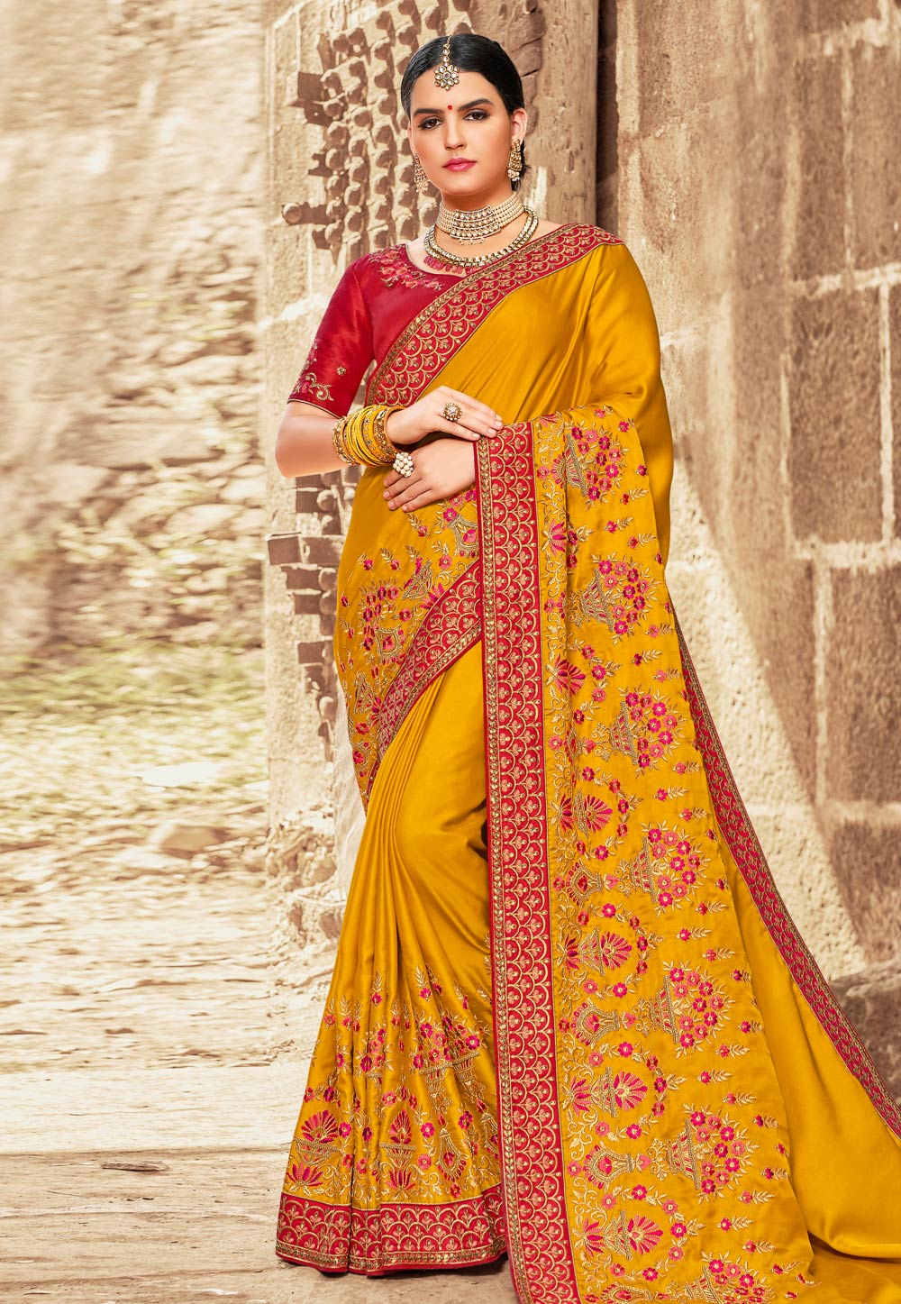 Yellow Satin Embroidered Saree With Blouse 155937
