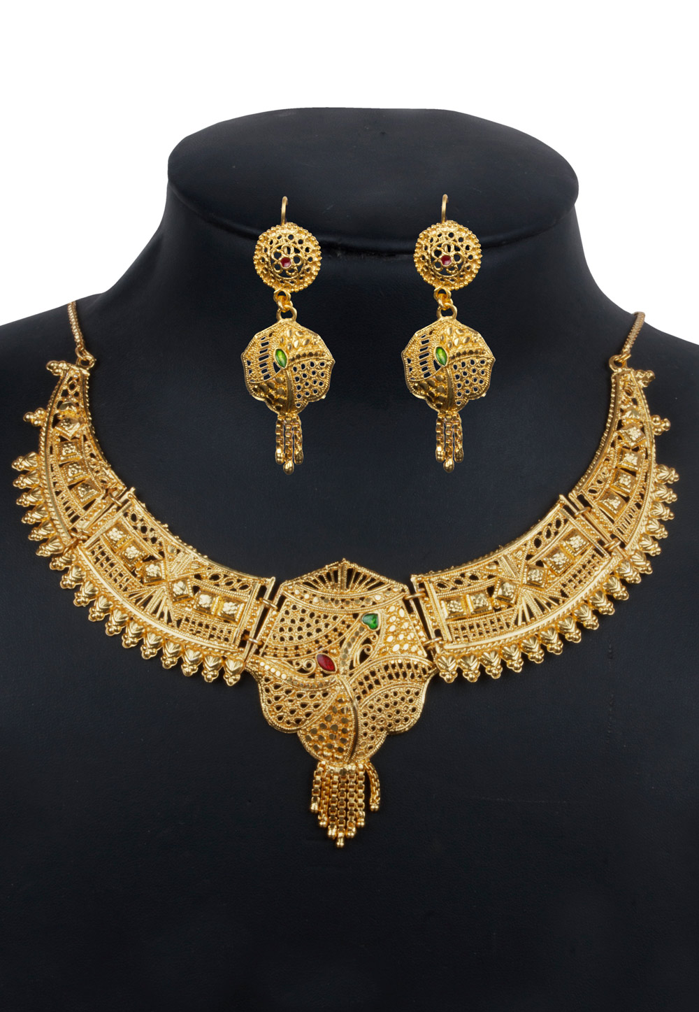 Golden Alloy Necklace With Earrings 157118