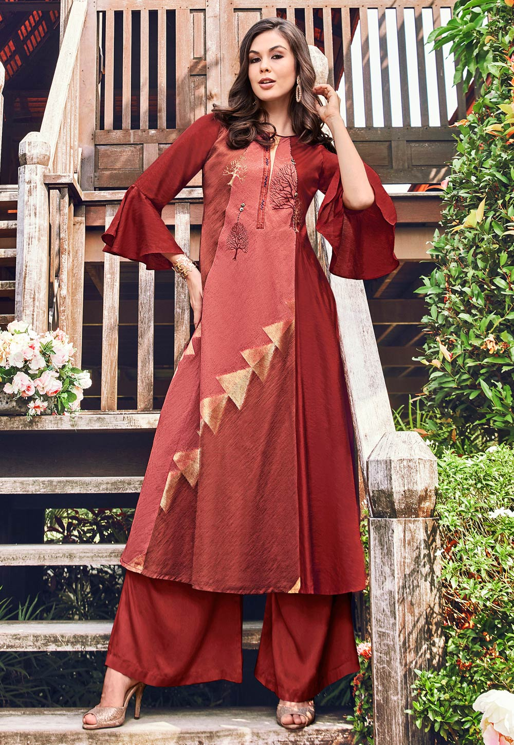Maroon Jacquard Readymade Gown 180571