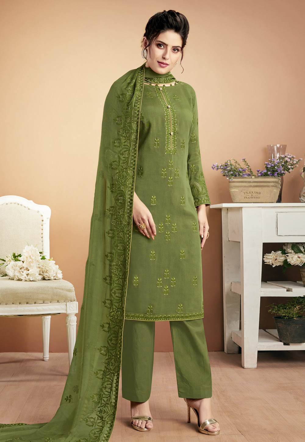 Green Muslin Pant Style Suit 188781