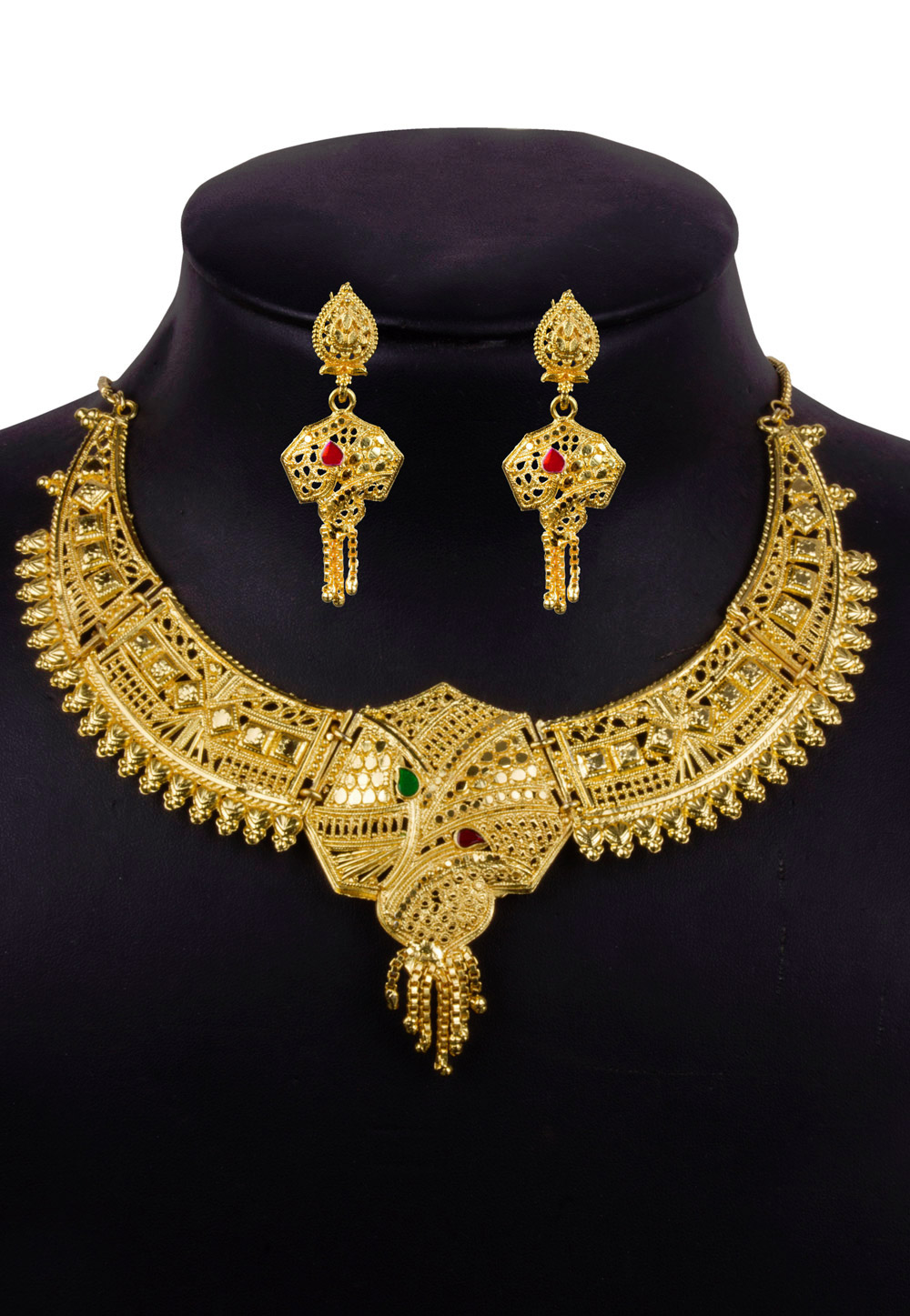 Golden Alloy Necklace With Earrings 157119