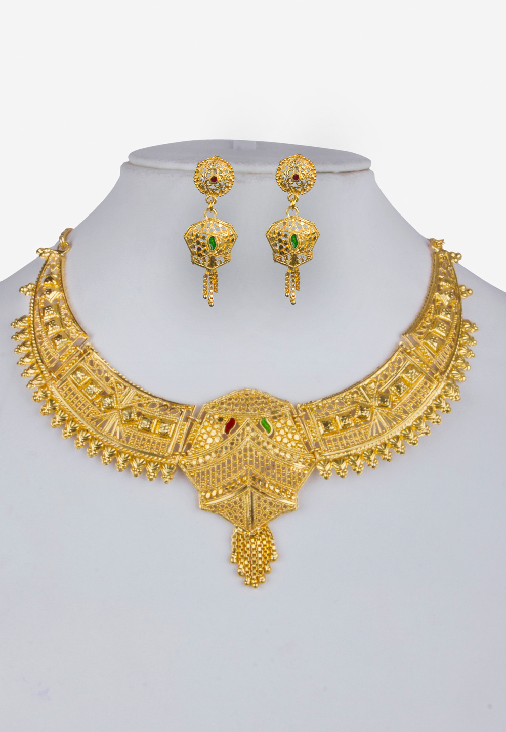 Golden Alloy Necklace With Earrings 157120