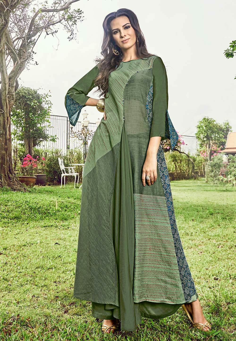 Olive Green Jacquard Readymade Gown 180573
