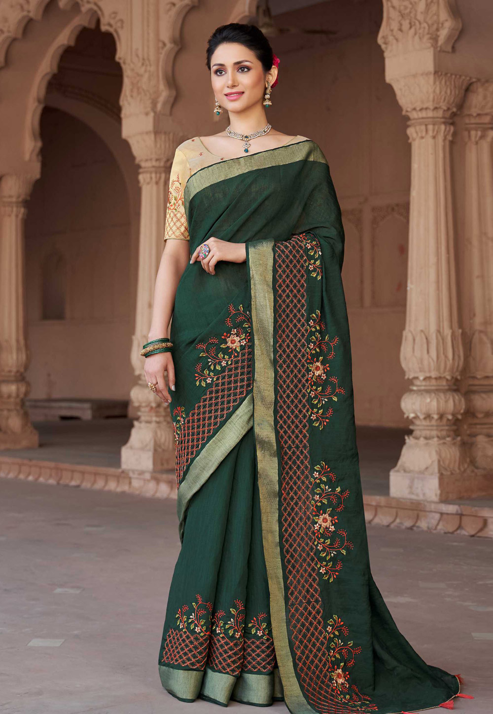Green Viscose Festival Wear Saree 157192