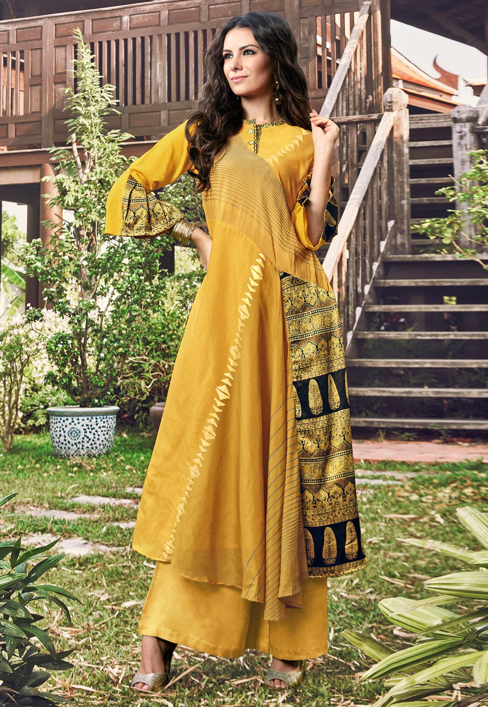 Yellow Jacquard Readymade Gown 180574