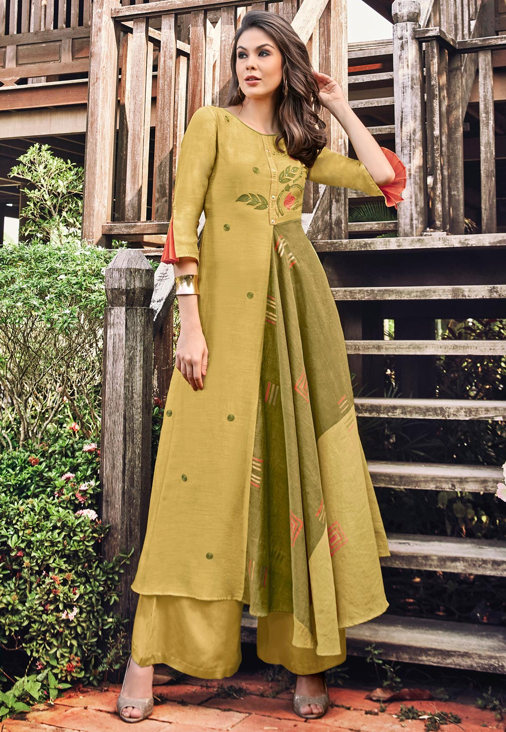 Shaded Yellow Jacquard Readymade Gown 180578