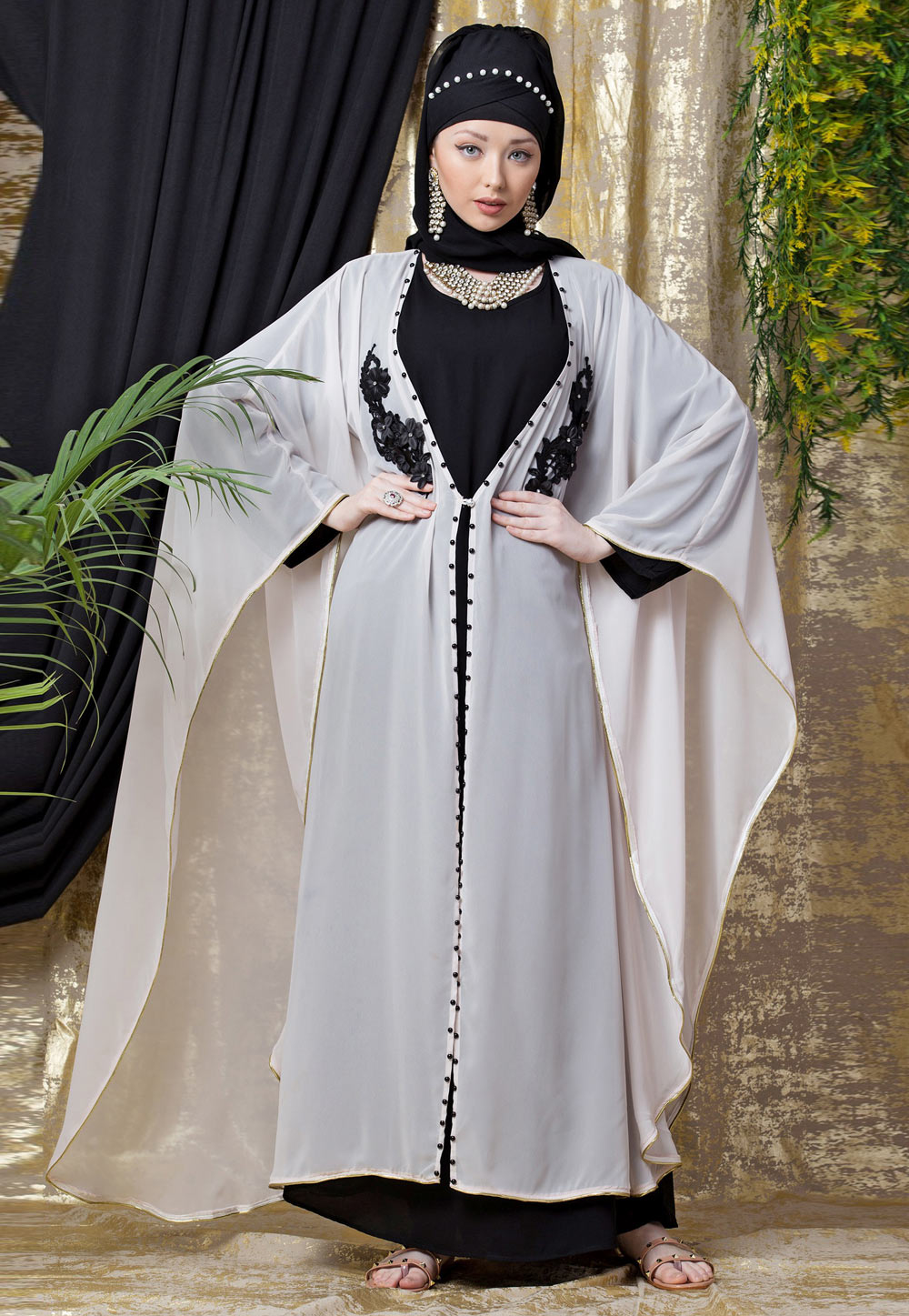 Off White Polyester Readymade Abaya 200816