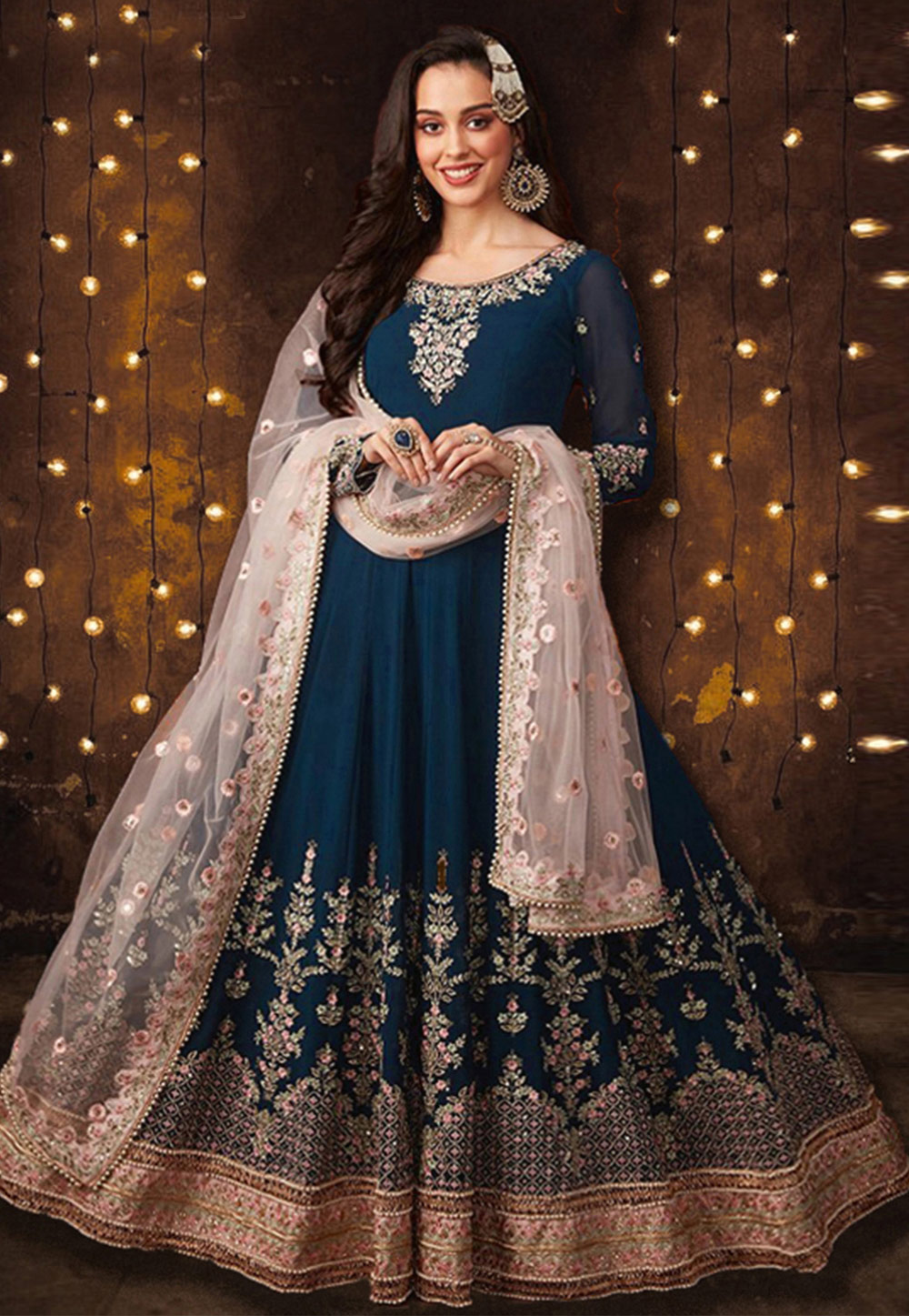 Blue Faux Georgette Long Anarkali Suit 197744