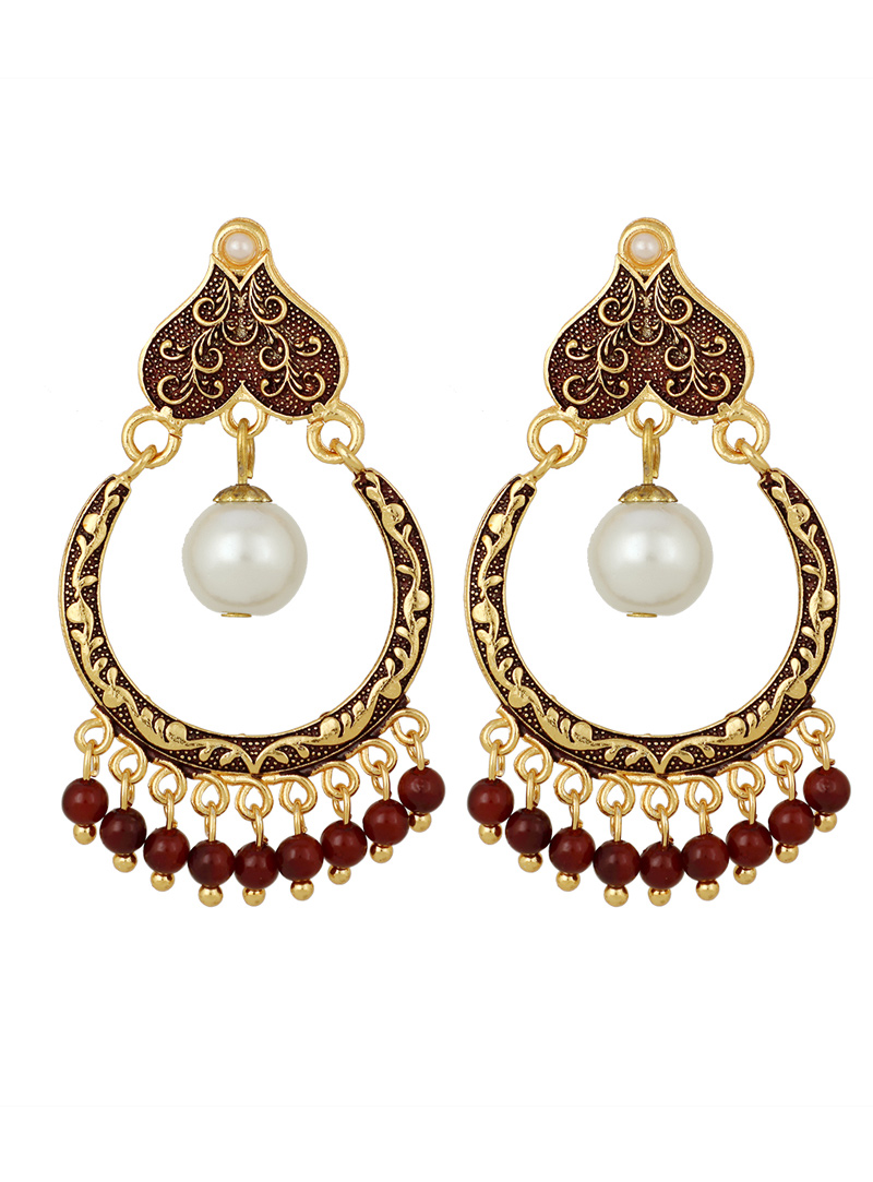 Maroon Brass Earrings 150737