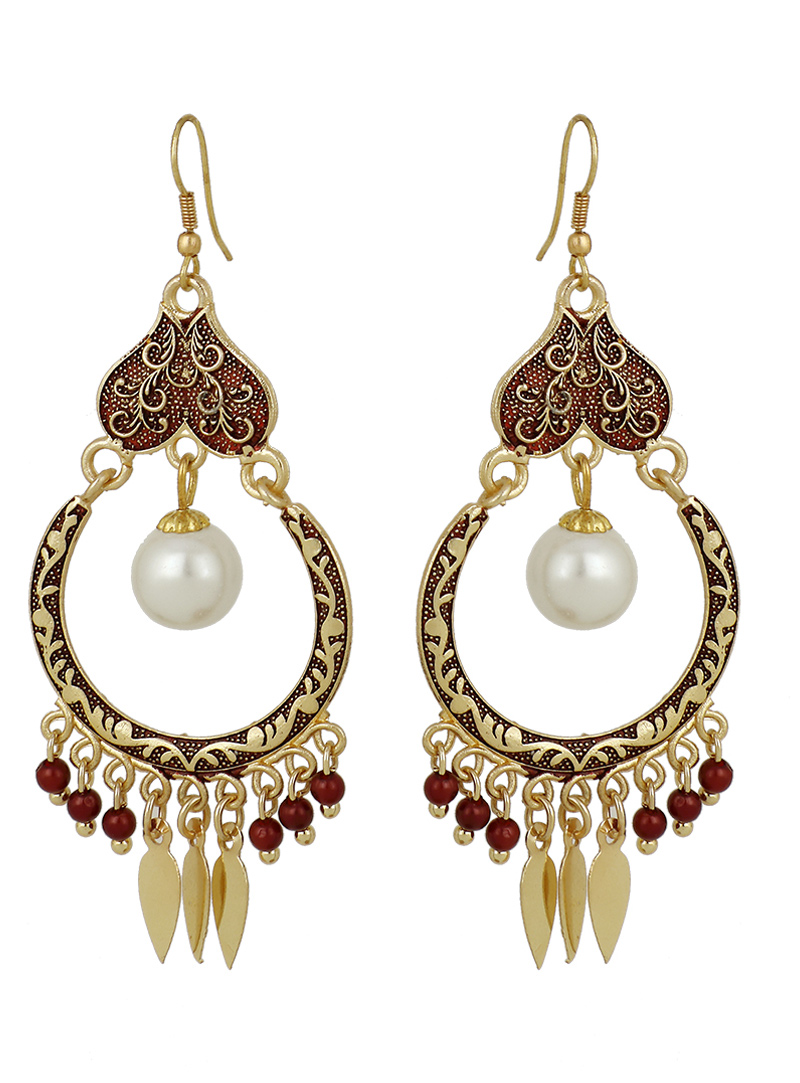 Maroon Brass Earrings 150738