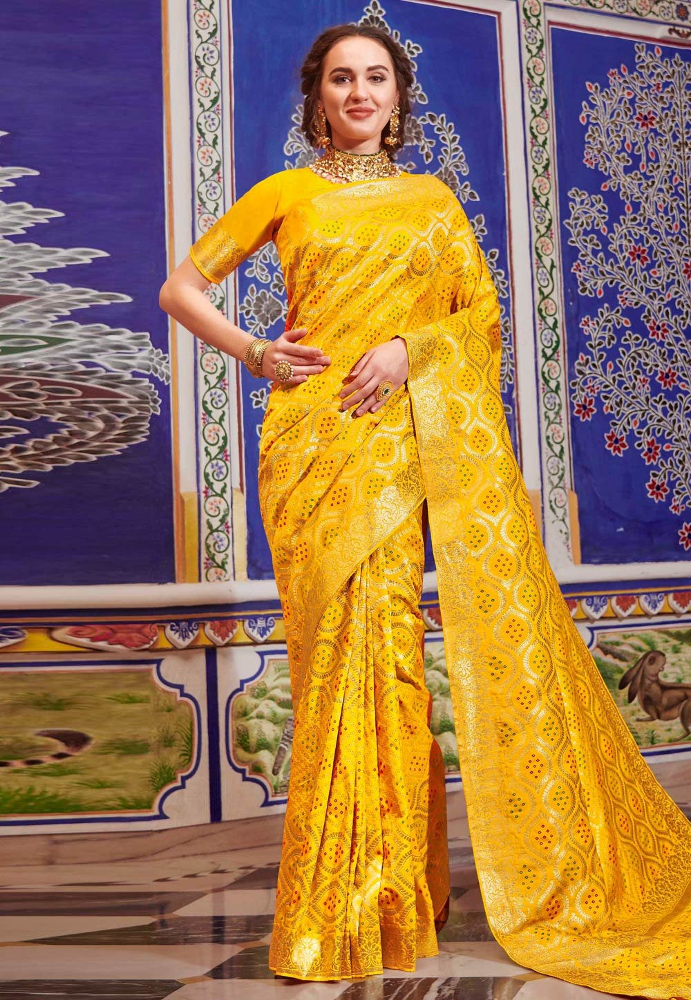Yellow Silk Saree With Blouse 198078