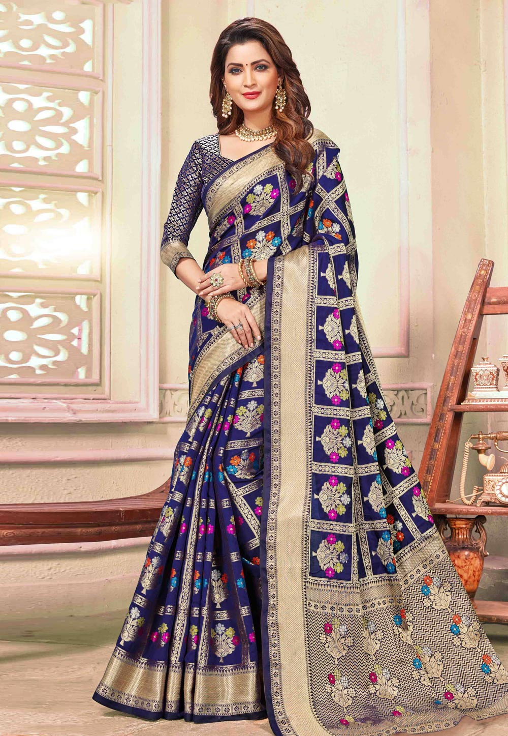 Blue Cotton Saree With Blouse 198088