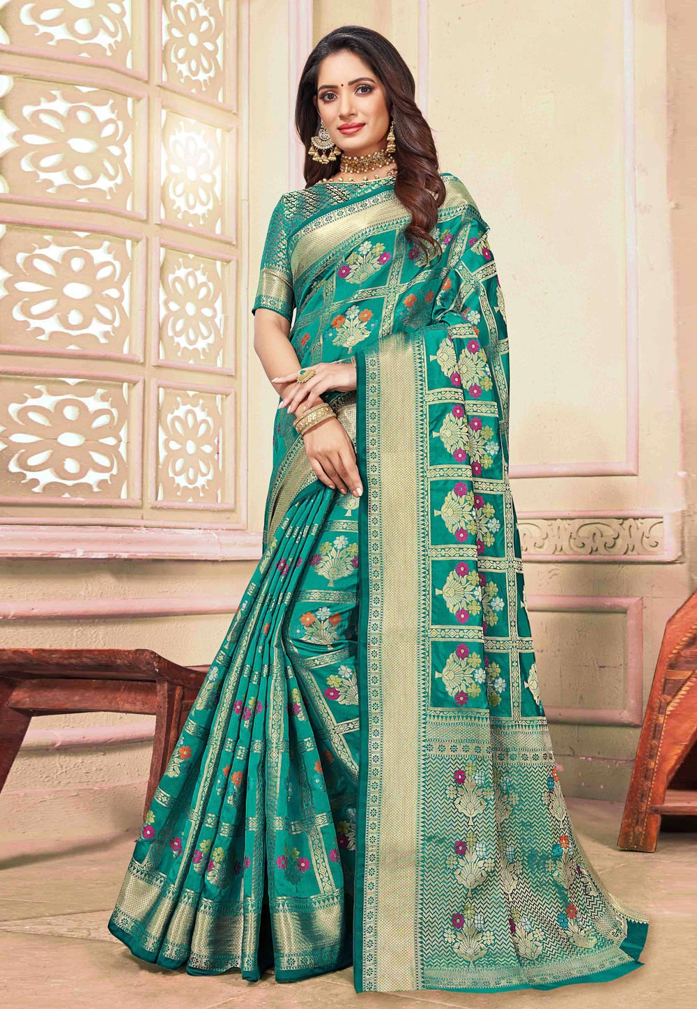 Teal Green Cotton Saree With Blouse 198090