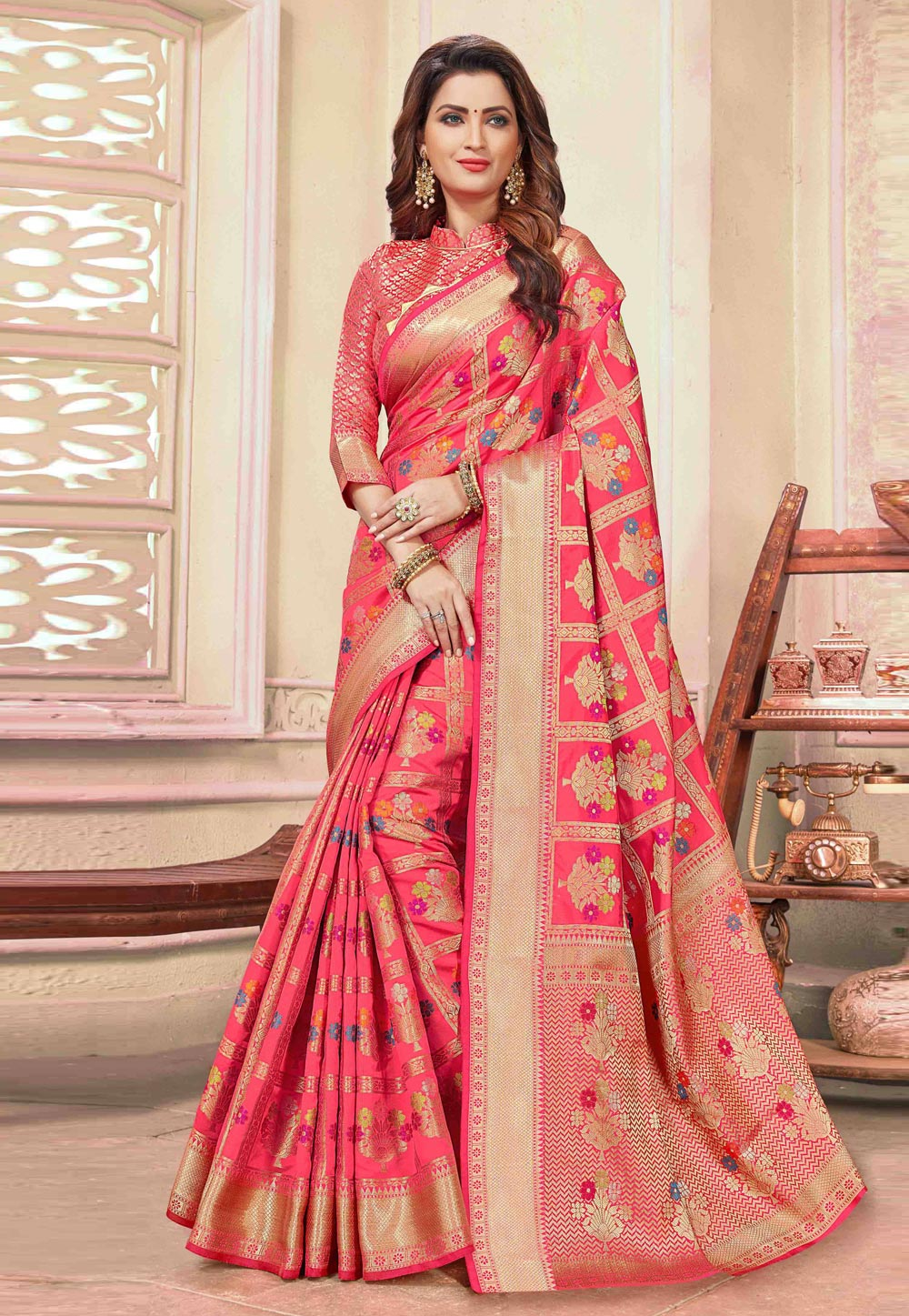 Pink Cotton Festival Wear Saree 198091