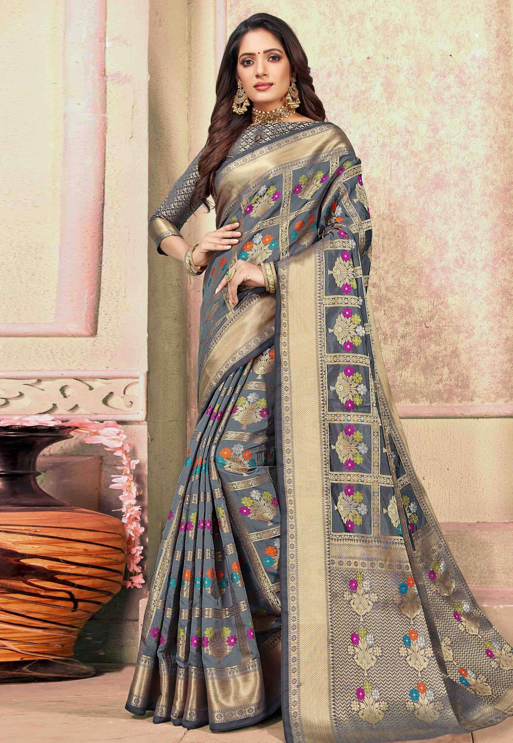 Grey Cotton Saree With Blouse 198092