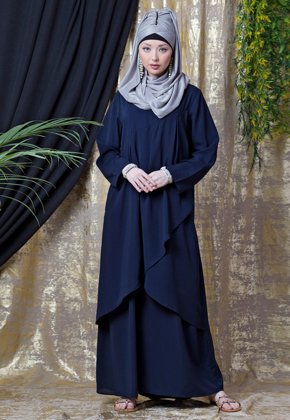 Navy Blue Polyester Readymade Abaya 200819