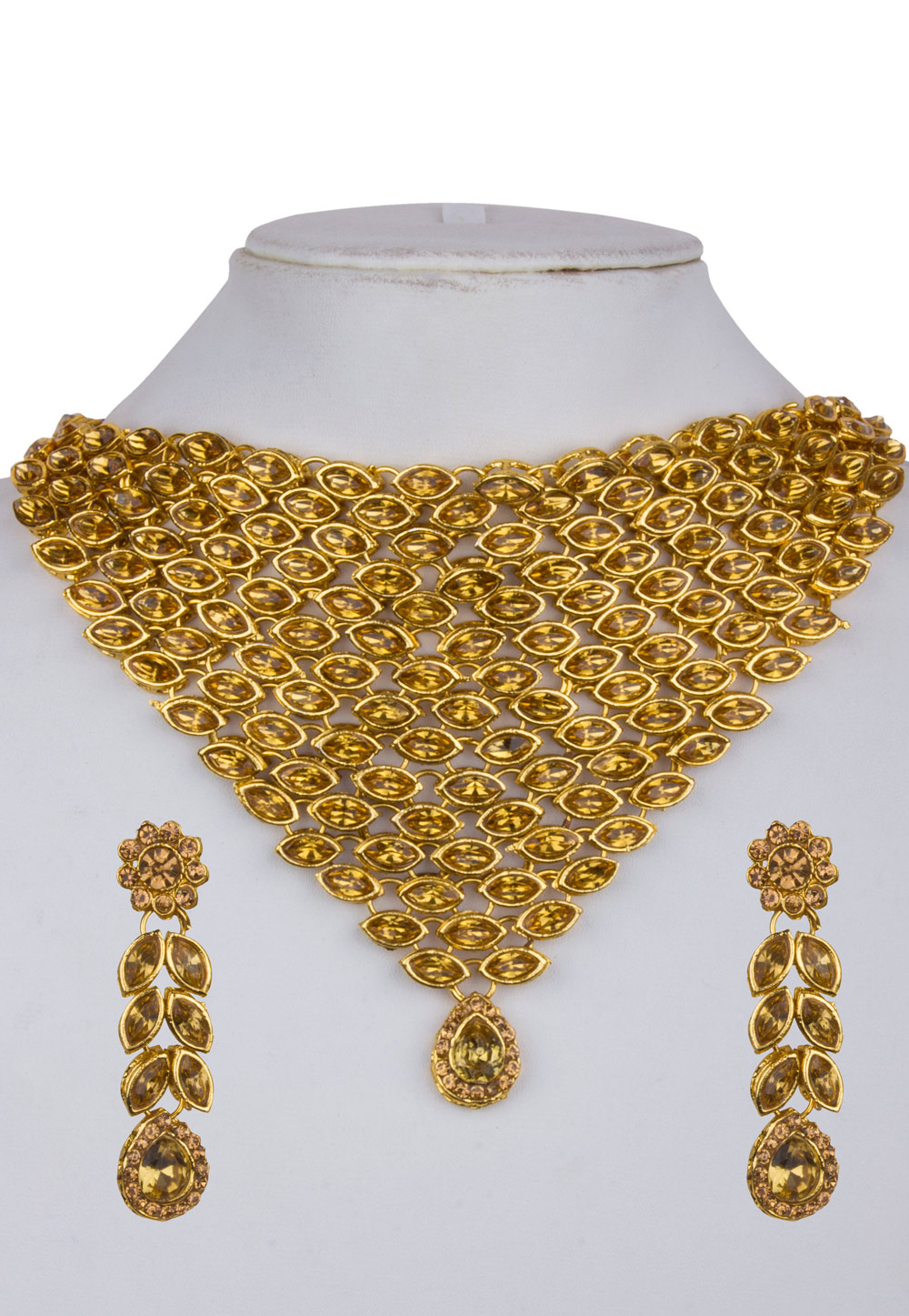 Golden Alloy Necklace Set with Maang Tikka 157121