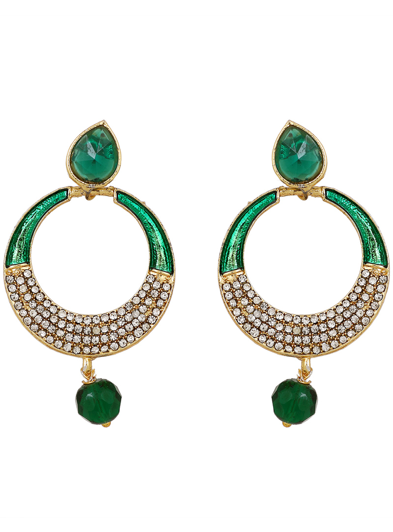 Green Brass Earrings 150766