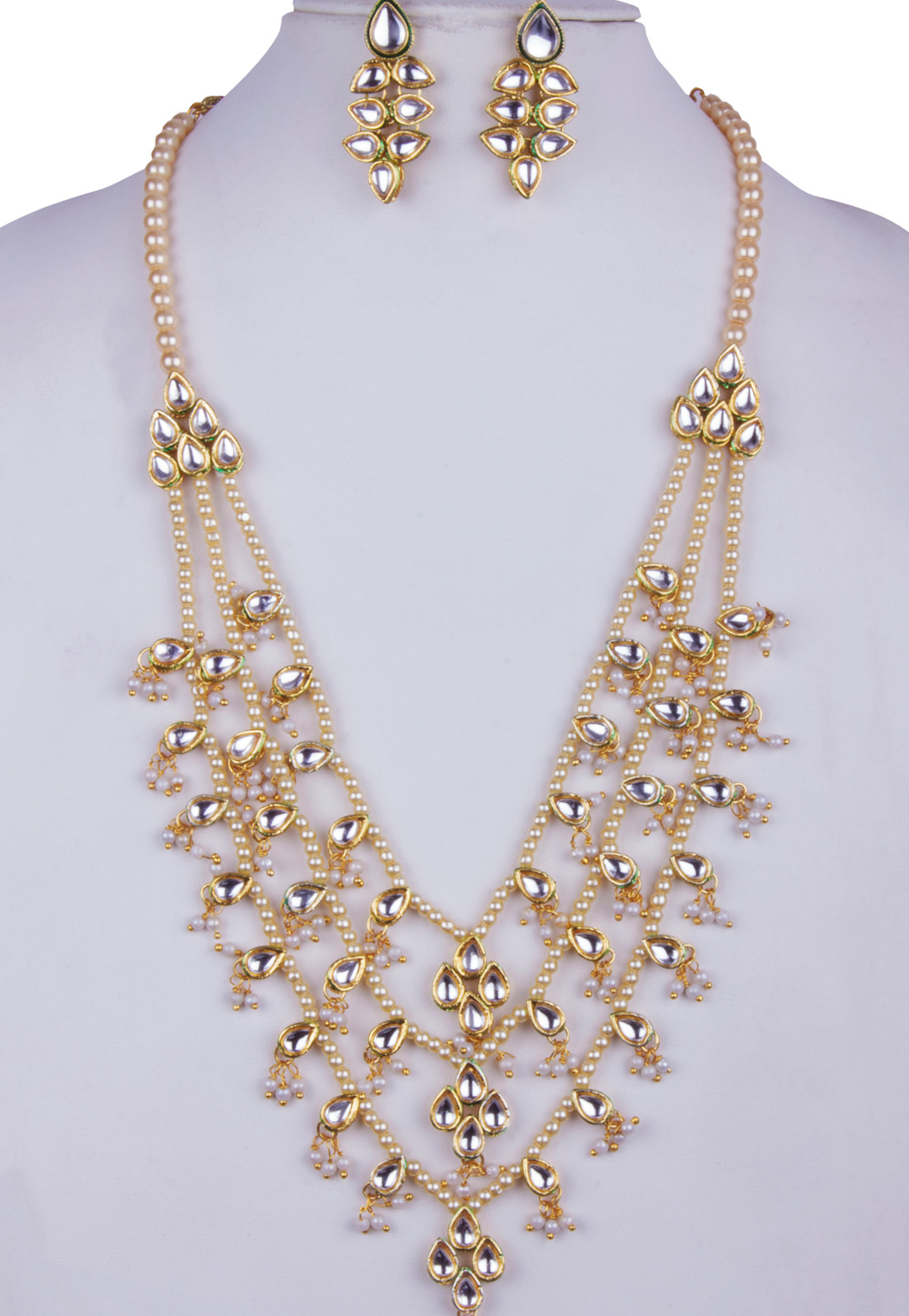 White Alloy Necklace With Earrings 157122