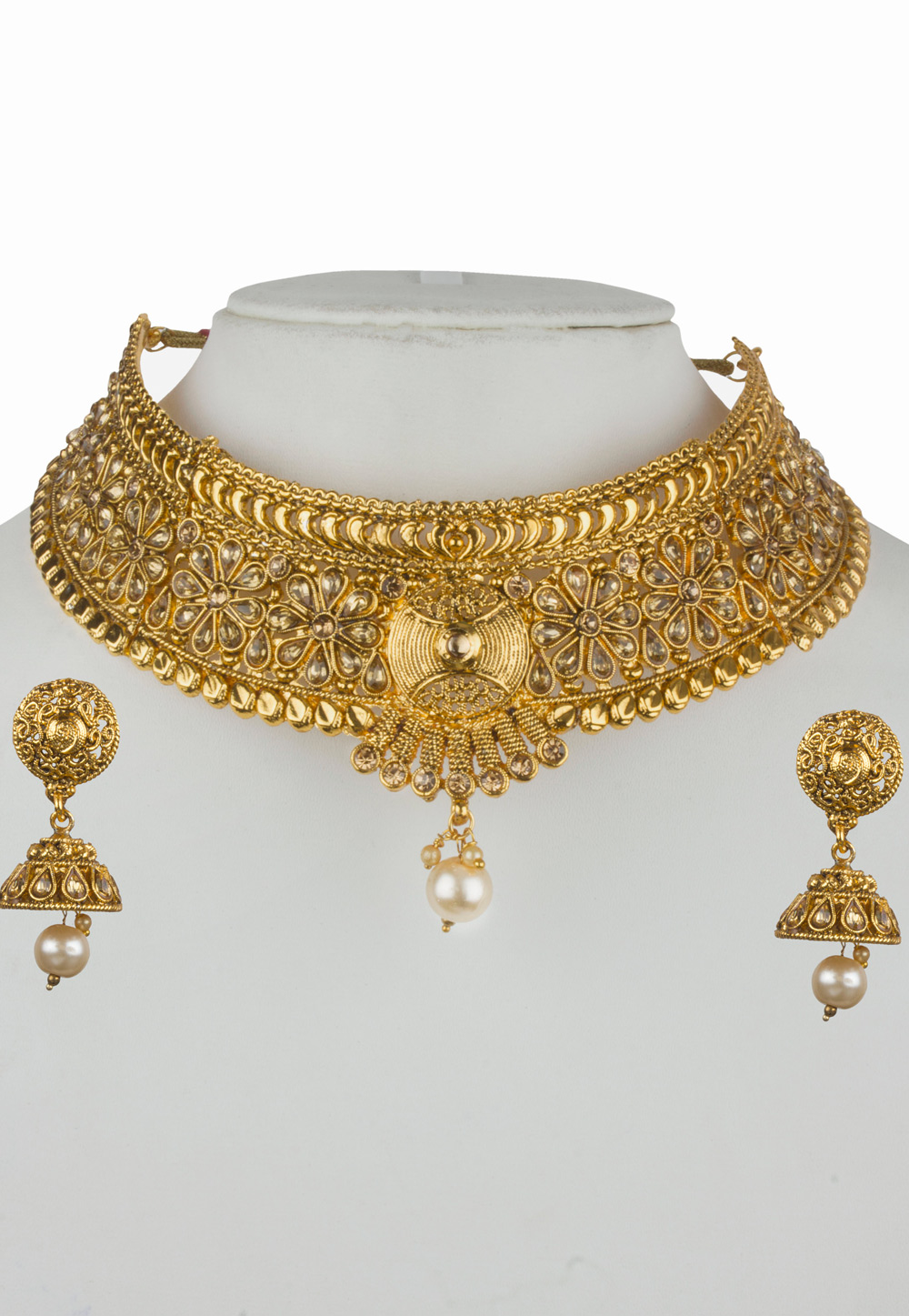 Golden Alloy Necklace Set with Maang Tikka 157125