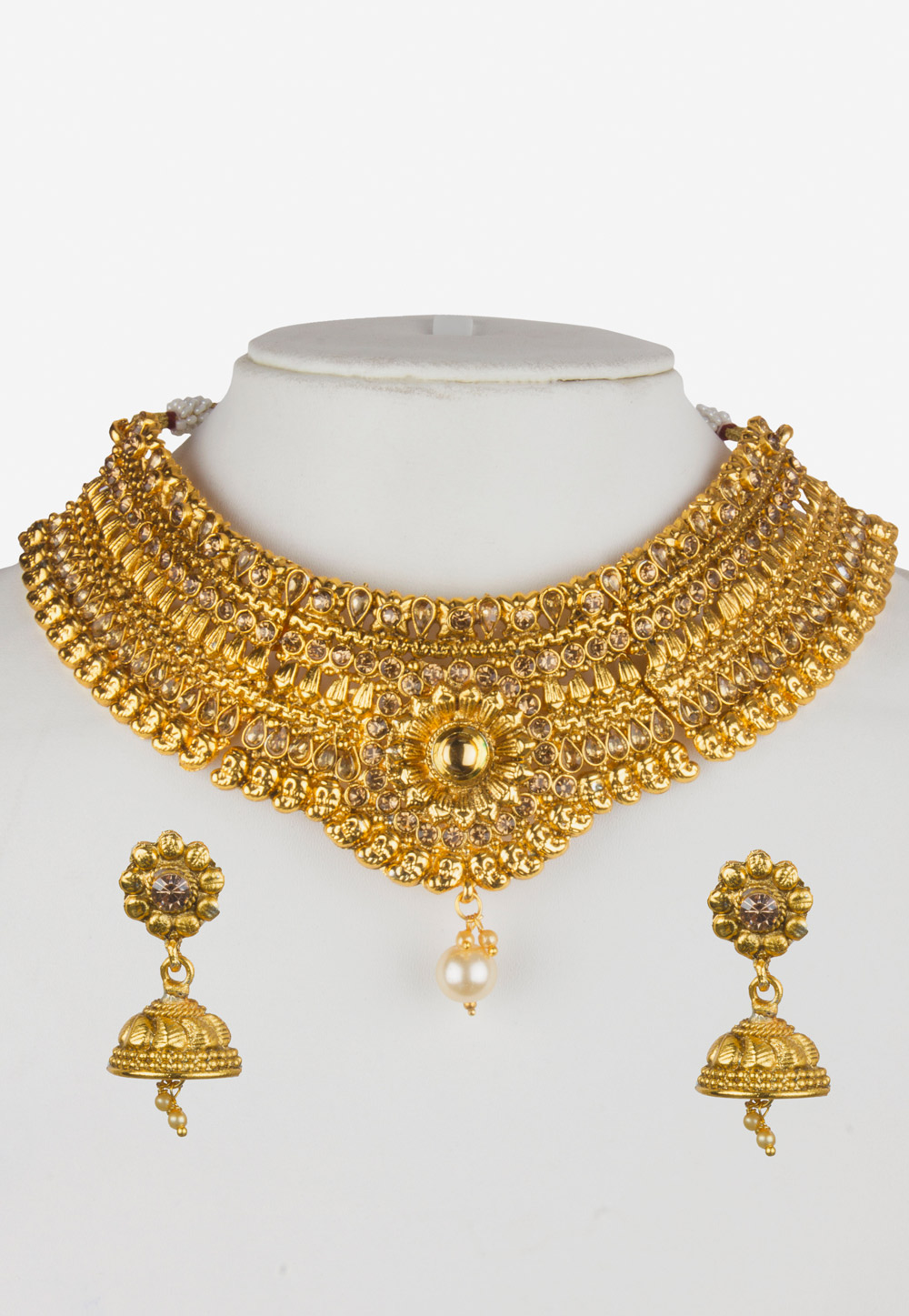 Golden Alloy Necklace Set with Maang Tikka 157126