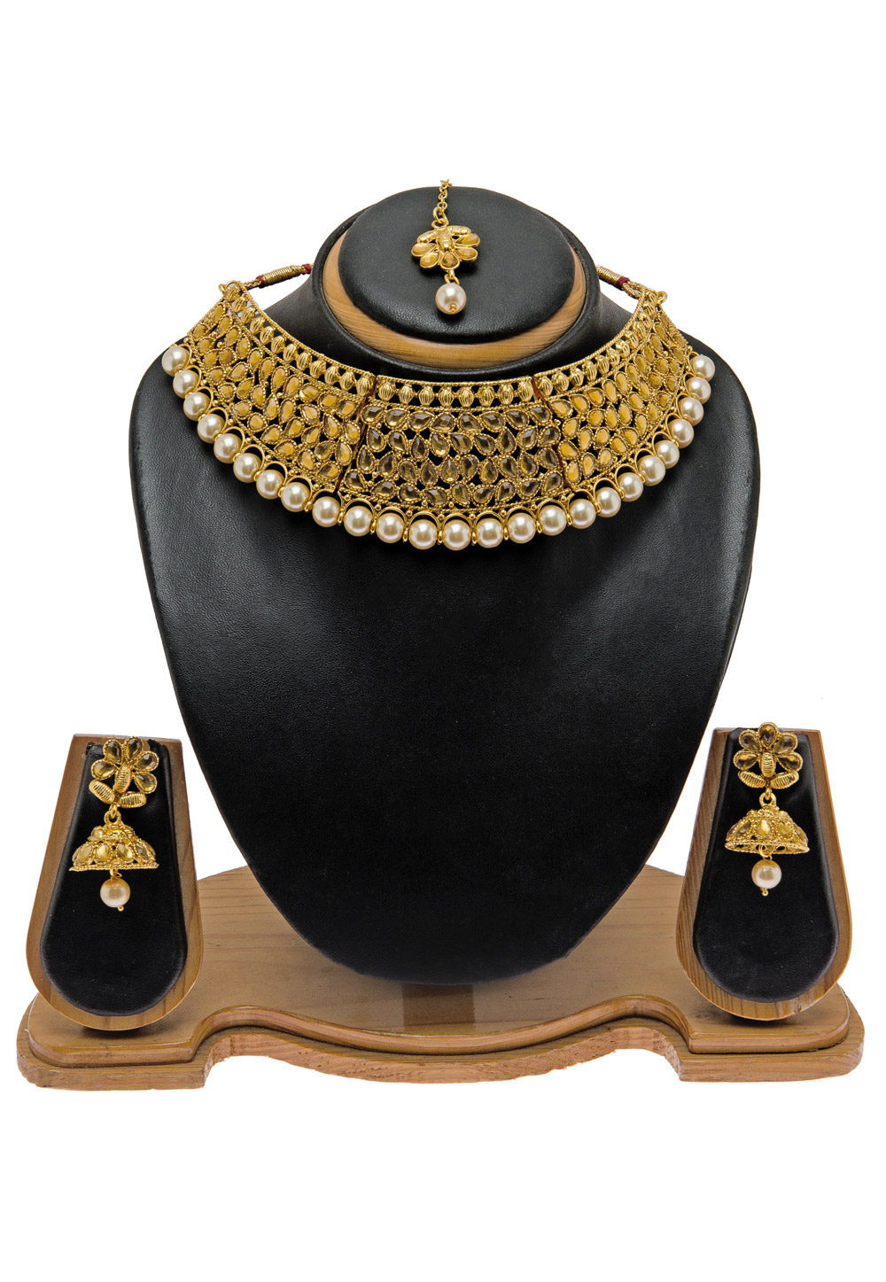 Golden Alloy Necklace Set with Maang Tikka 157127