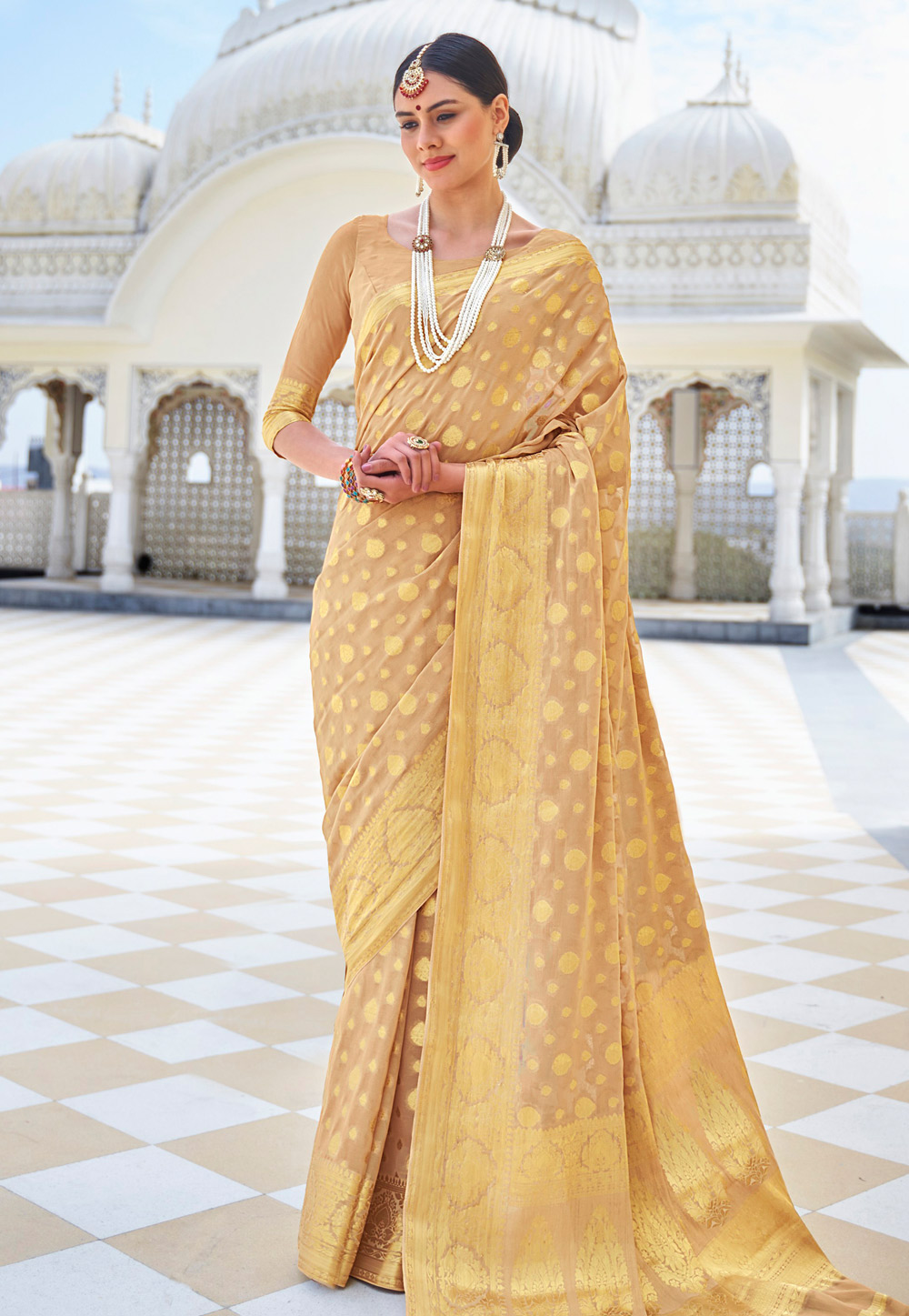 Golden Chiffon Festival Wear Saree 199815