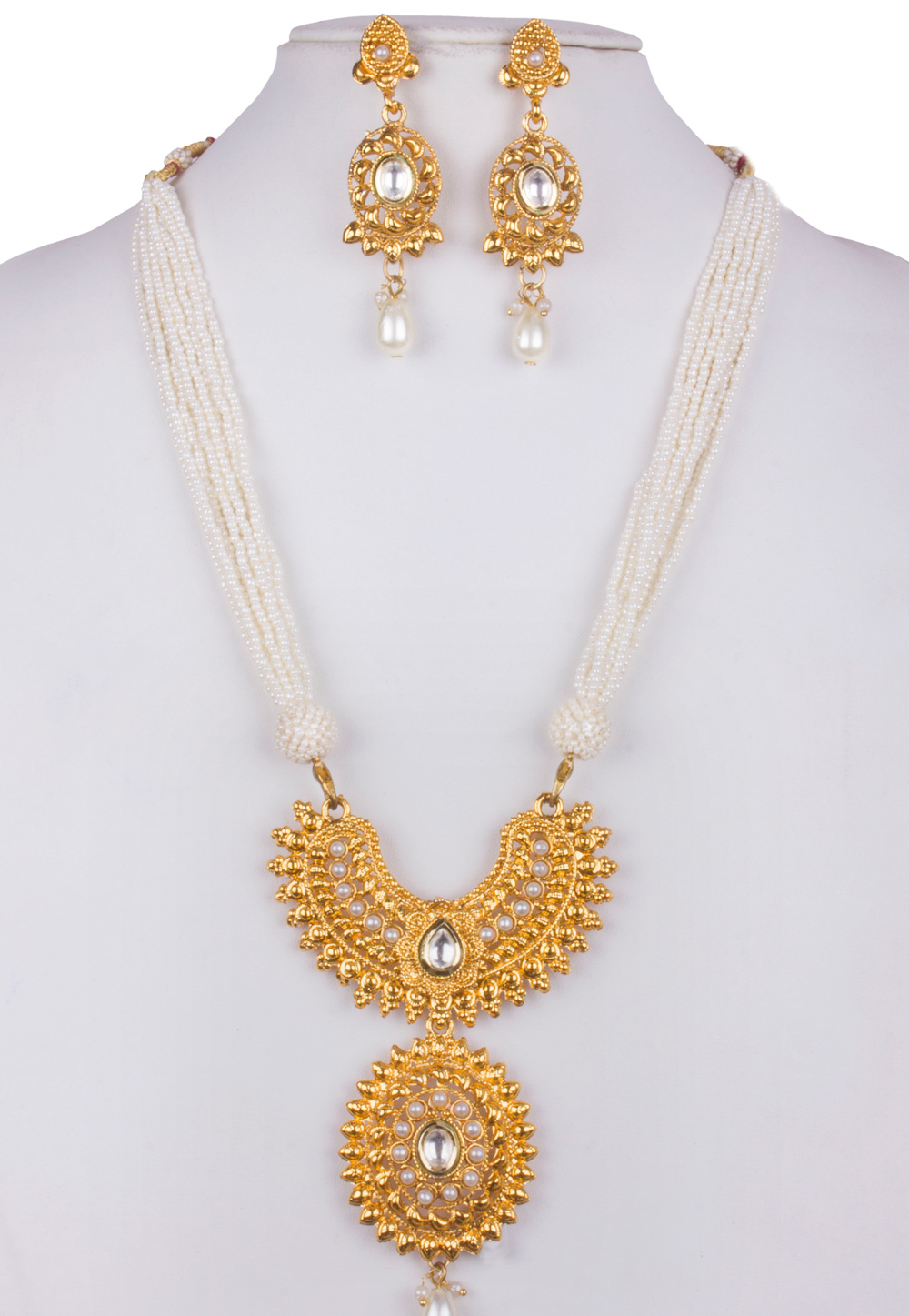 White Alloy Necklace With Earrings 157128