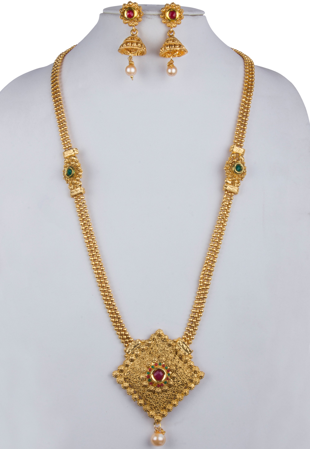 Golden Alloy Necklace With Earrings 157129
