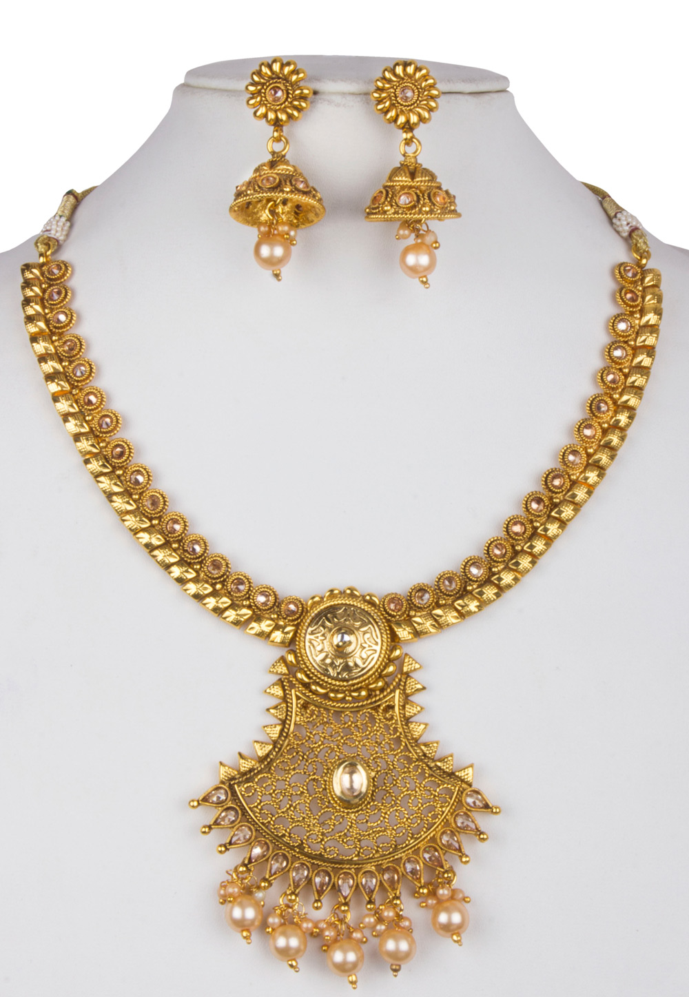 Golden Alloy Necklace With Earrings 157133