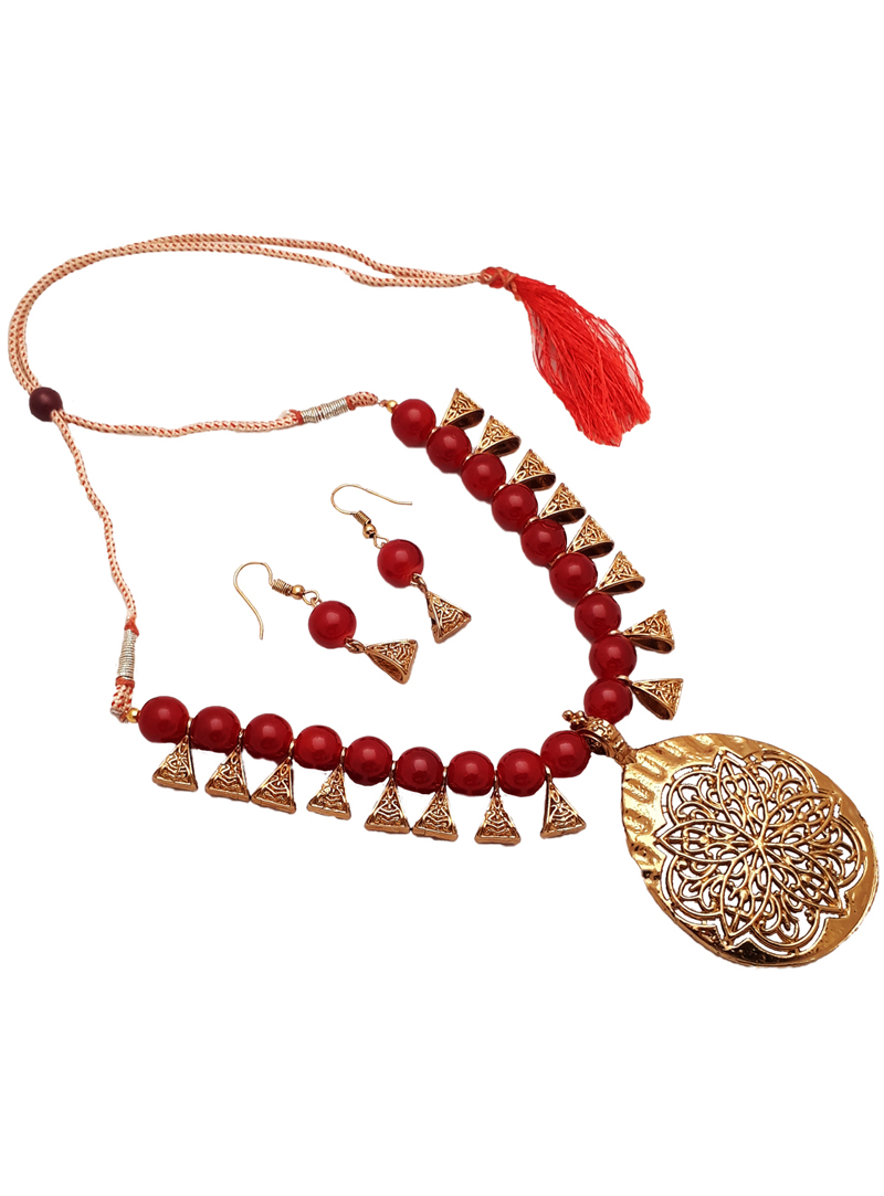 Maroon Alloy Austrian Diamond Necklace With Earrings 148736