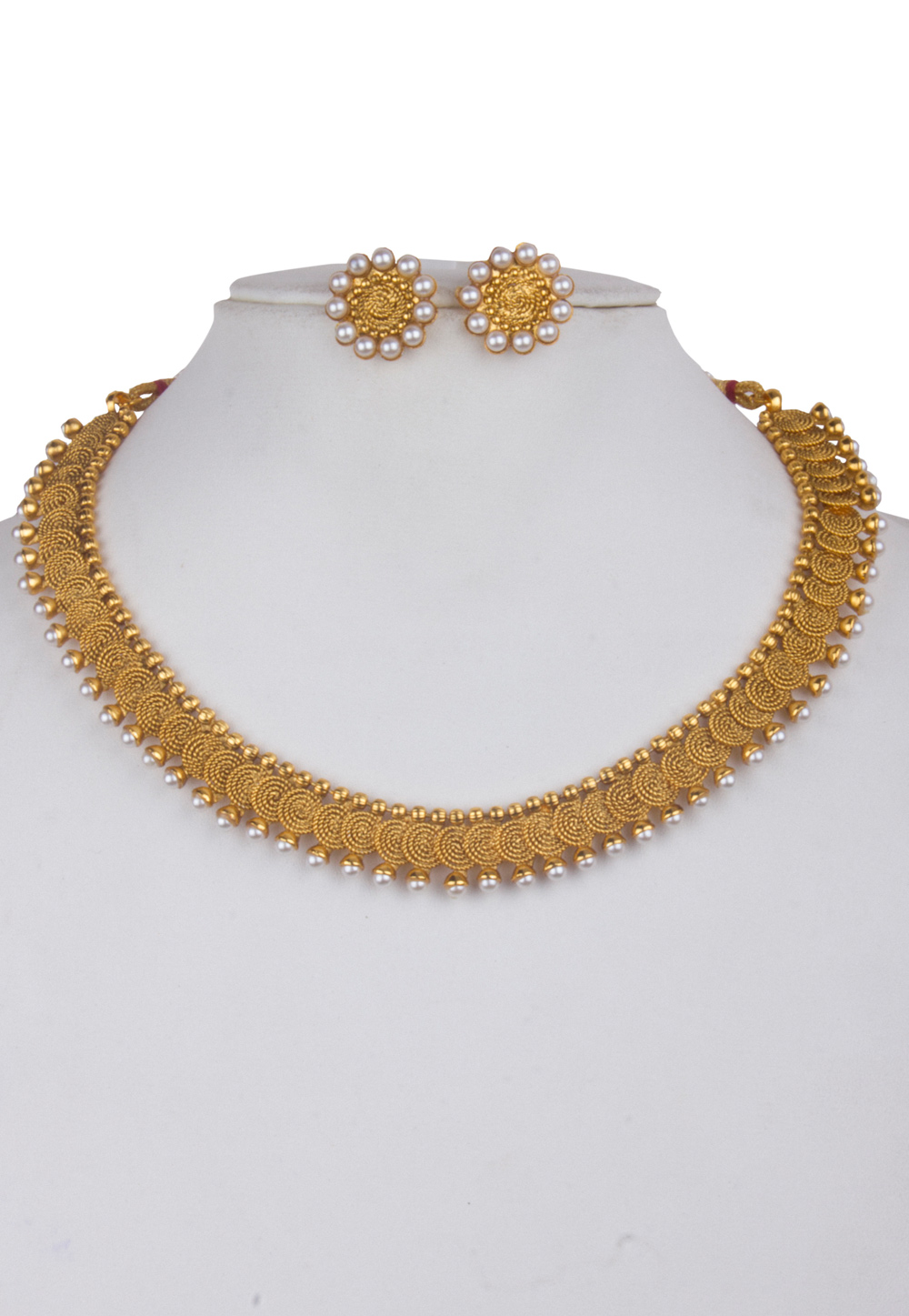 Golden Alloy Kundan Necklace With Earrings 156255