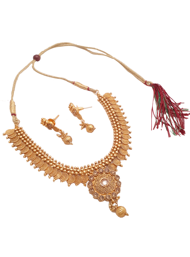 Golden Alloy Necklace With Earrings 148737