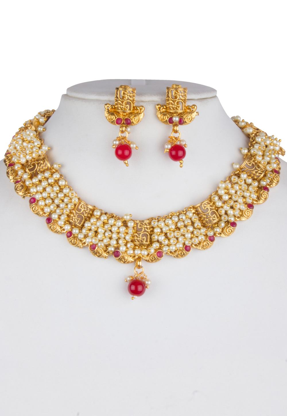 White Alloy Necklace With Earrings 157134