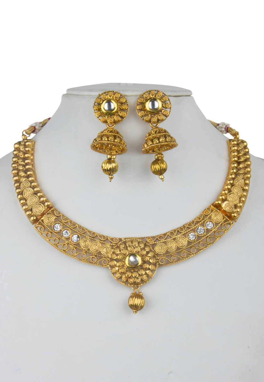 Golden Alloy Kundan Necklace With Earrings 156256