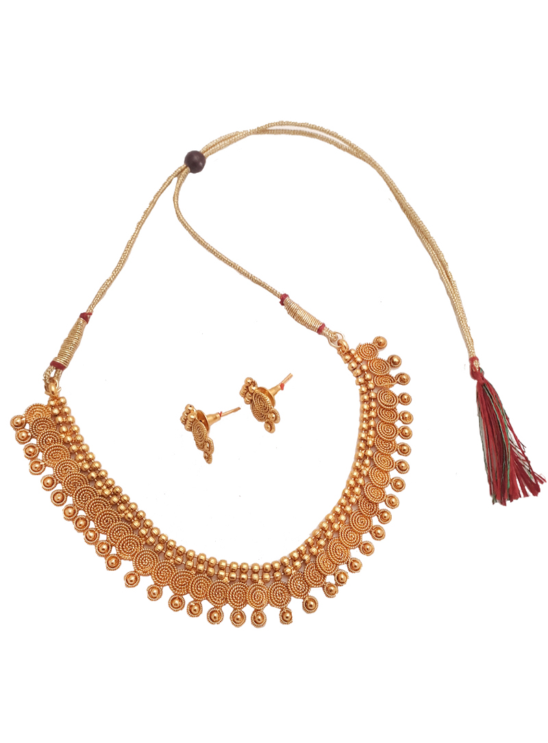 Golden Alloy Necklace With Earrings 148743