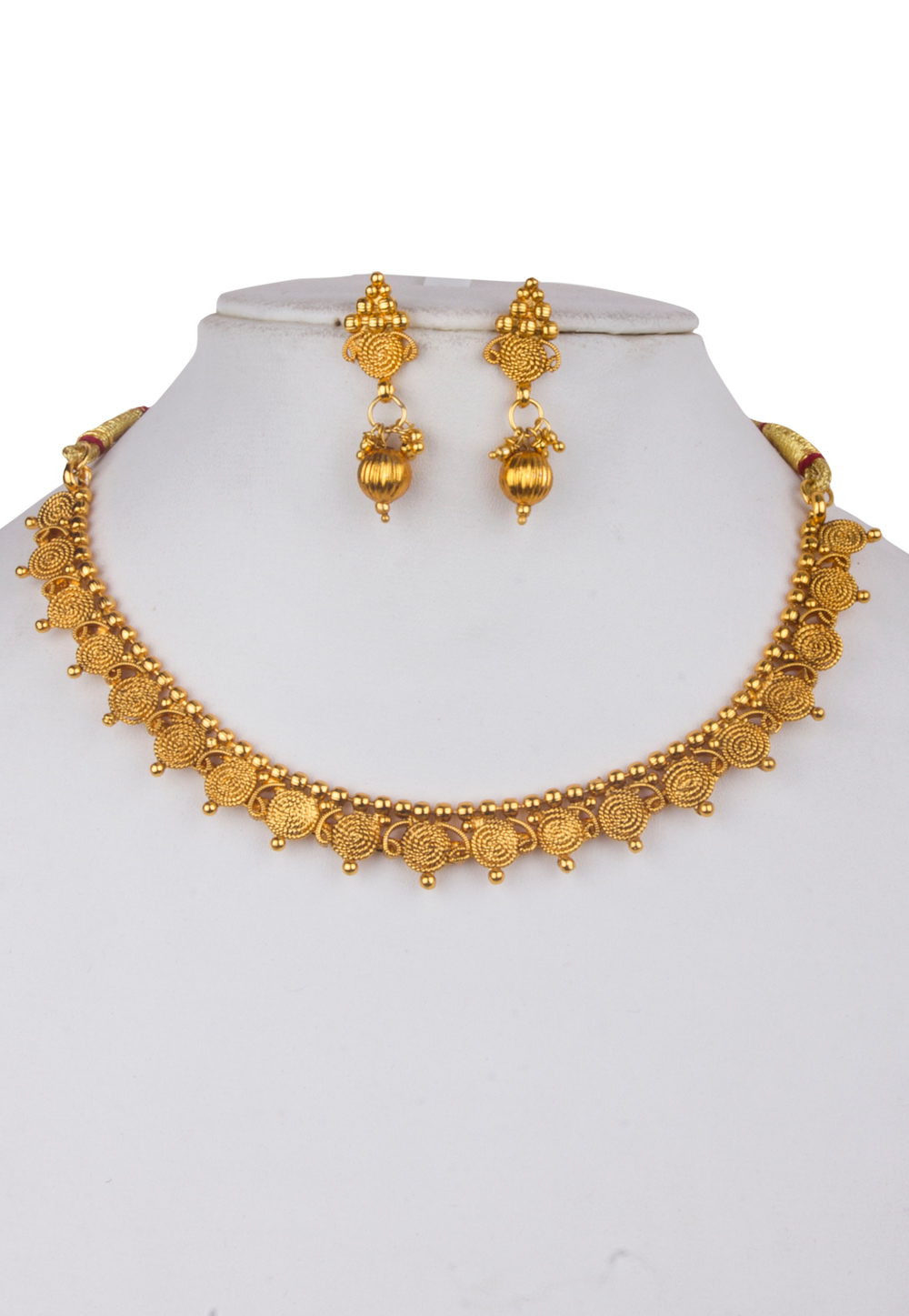 Golden Alloy Kundan Necklace With Earrings 156258