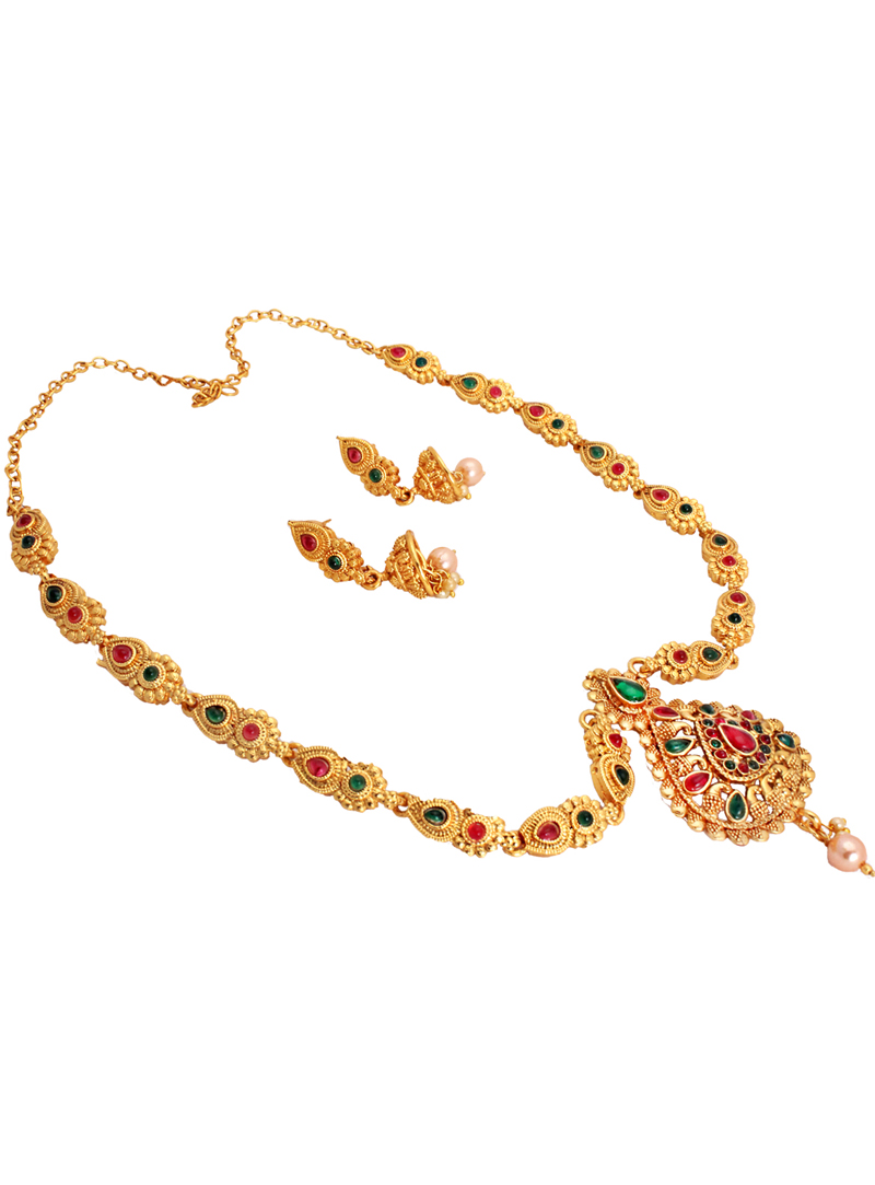 Multicolor Alloy Austrian Diamond Necklace With Earrings 148746