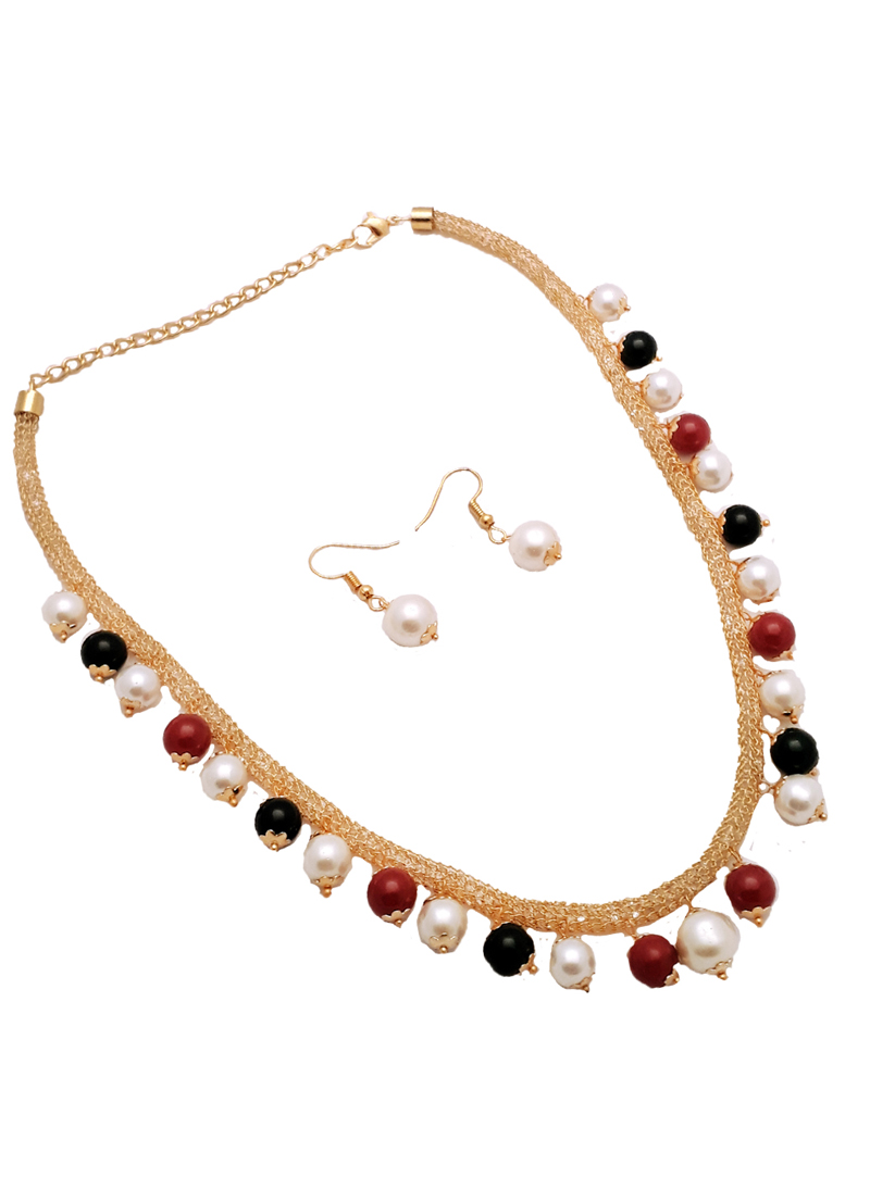 Multicolor Alloy Kundan Necklace With Earrings 148750