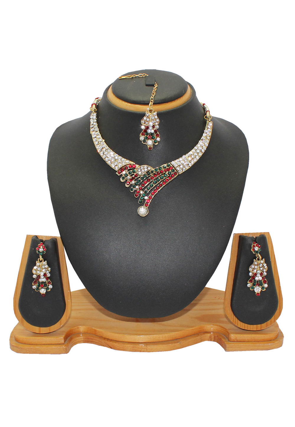 Maroon Alloy Austrian Diamonds Necklace With Earrings and Maang Tikka 64336