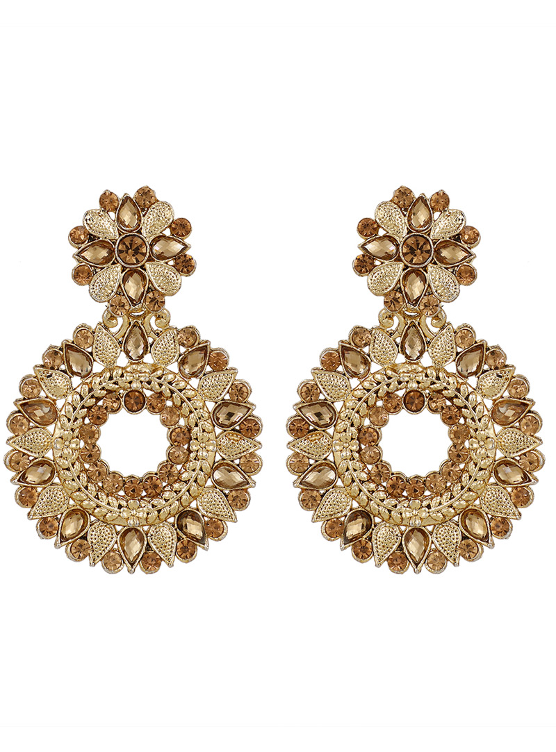Golden Brass Earrings 150802
